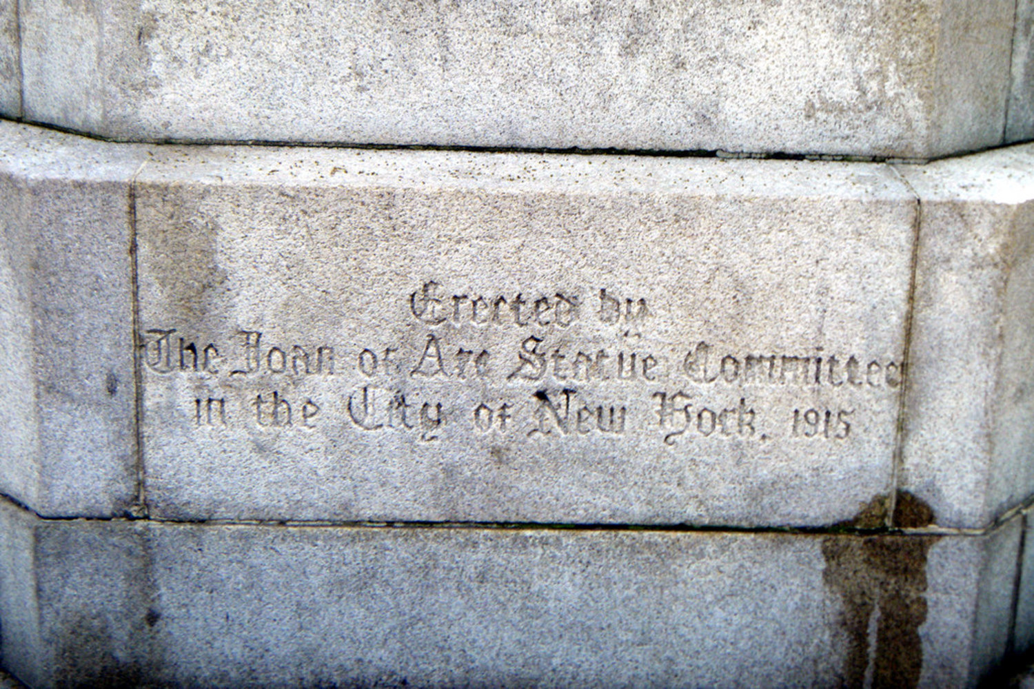 """JOAN OF ARC STATUE COMMITTEE   ERECTED BY     THE JOAN OF ARC STATUE COMMITTEE    IN THE CITY OF NEW YORK 1915.   Joan of Arc Island - Riverside Park - 93rd Street & Riverside Drive in Manhattan, New York City - <a href=""""http://maps.google.com/maps?f=q&source=s_q&hl=en&geocode=&q=93rd+Street+&+Riverside+Drive+Manhattan,+New+York+City+&sll=46.085154,0.908565&sspn=7.329362,19.753418&ie=UTF8&hq=&hnear=Riverside+Dr+&+W+93rd+St,+New+York,+10025&z=16"""" rel=""""nofollow"""">Google Map</a> - <a href=""""http://www.flickr.com/photos/sheenachi/tags/joanofarcisland/"""">additional views</a>"""