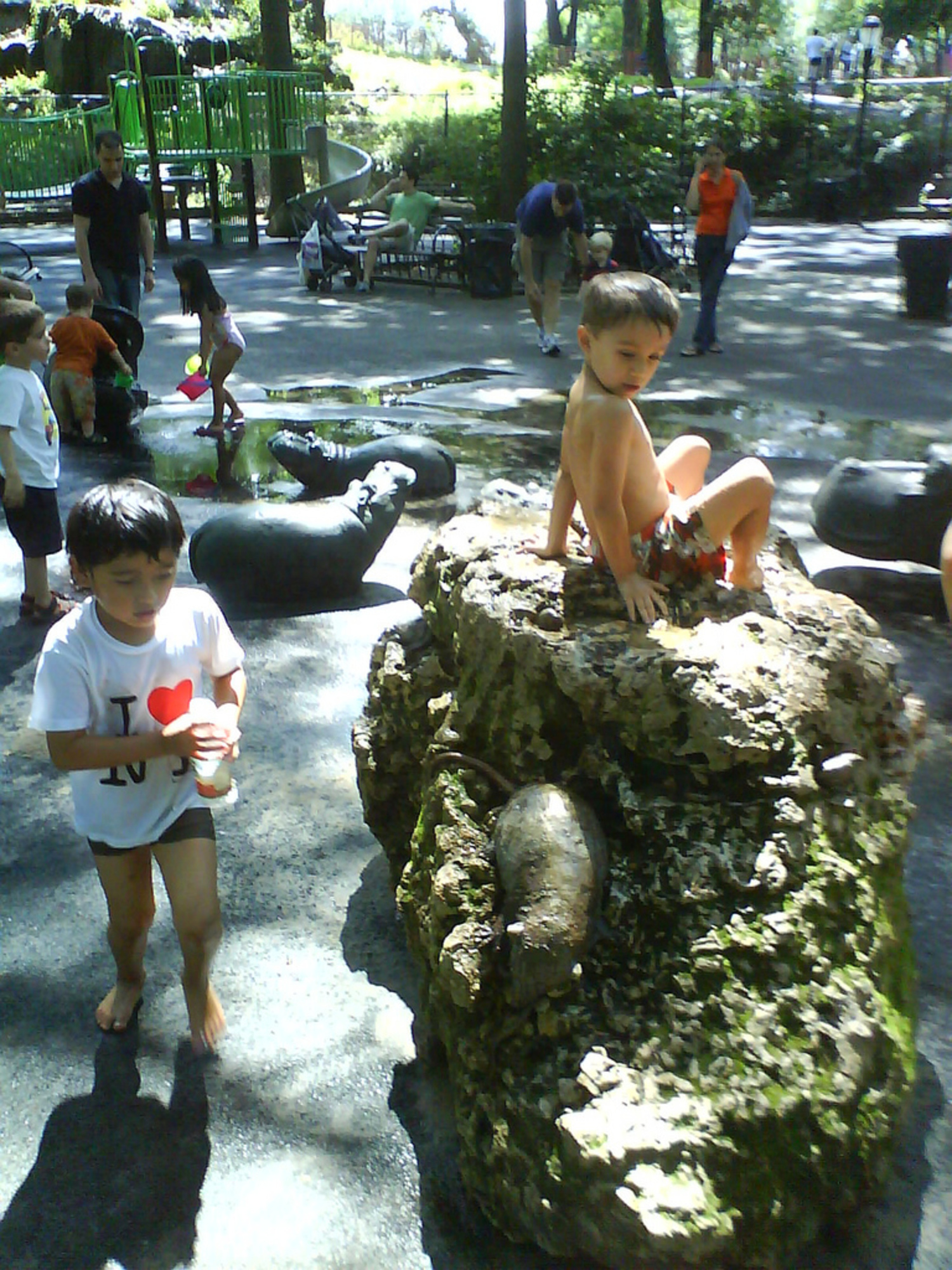 Hippo Playground - Riverside Park, NY | Nice playground, full of shade in the summer. Hippos, turtles, and other critters inhabit this park...