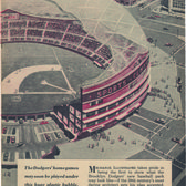 """The industrial designer Norman Bel Geddes paired with the visionary architect and theorist Buckminster Fuller to devise this version of the Dodgers' stadium, ensconced by a """"translucent fiberglass-roofed geodesic dome""""… in which """"natural air currents"""" would act as air-conditioning."""