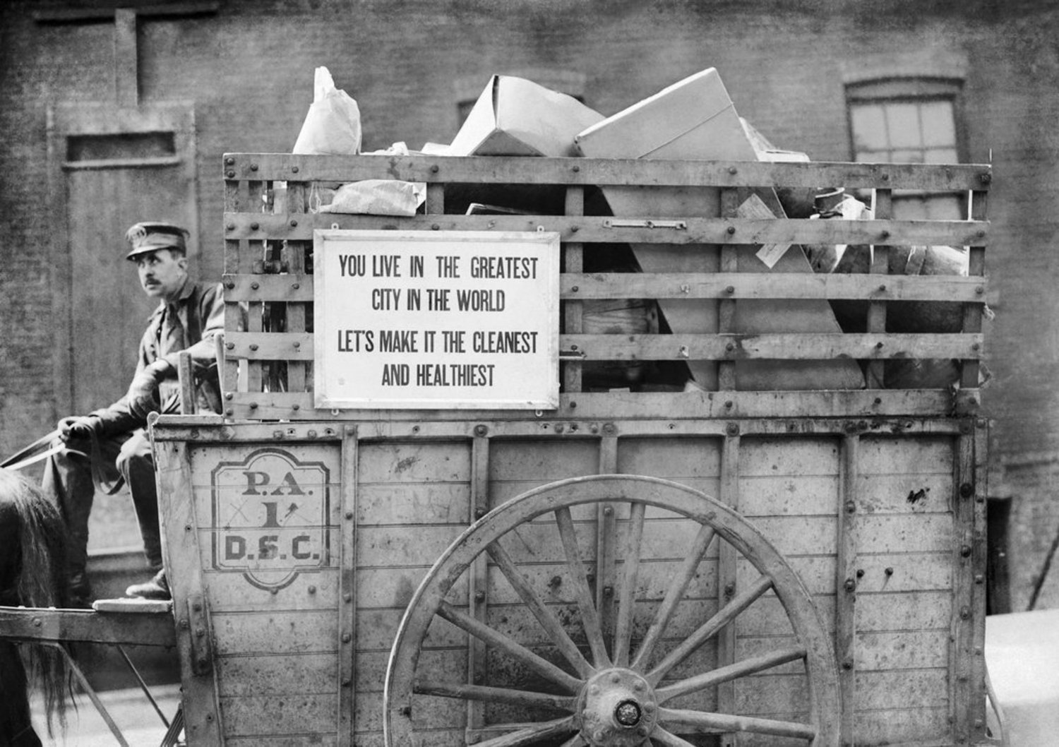 """""""A street-cleaning cart in New York City, where there were said to be 450 of them in 1915. Earlier that year, The Times reported on other improvements to the city's streets, at a meeting held at Columbia University by the three borough presidents and John T. Fetherston, street-cleaning commissioner. The four men """"discussed the planning, construction and maintenance of public highways and public works and street cleaning before an audience including many of the prettiest young women students in the university,"""" The Times reported. The audience was attentive, """"but the women particularly became enthusiastic when President Marks told them of his fight for free public markets,"""" the report continued. Alas, that topic was not on the agenda. Boasting about the borough with the most asphalt (Brooklyn), however, was."""""""