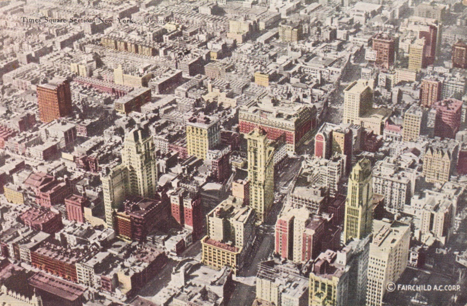 1920s skyscrapers towering over Times Square