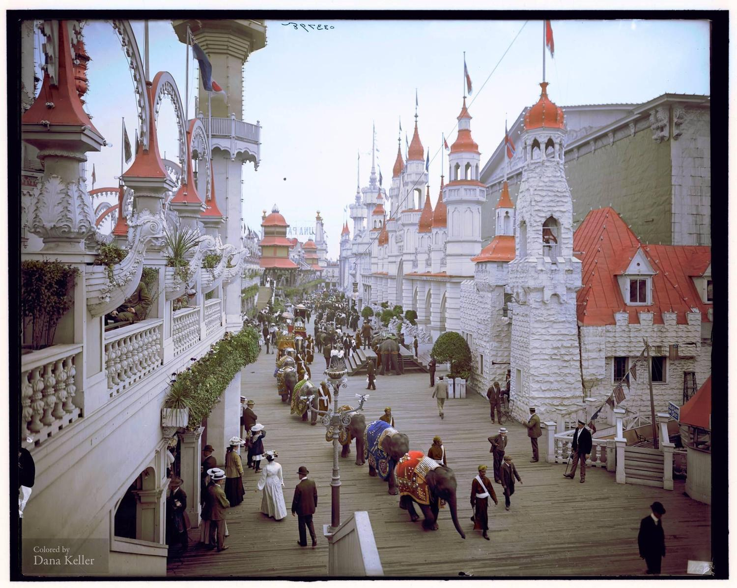Elephants in Luna Park, the promenade, Coney Island, New York circa 1907 (colorized by Dana Keller)