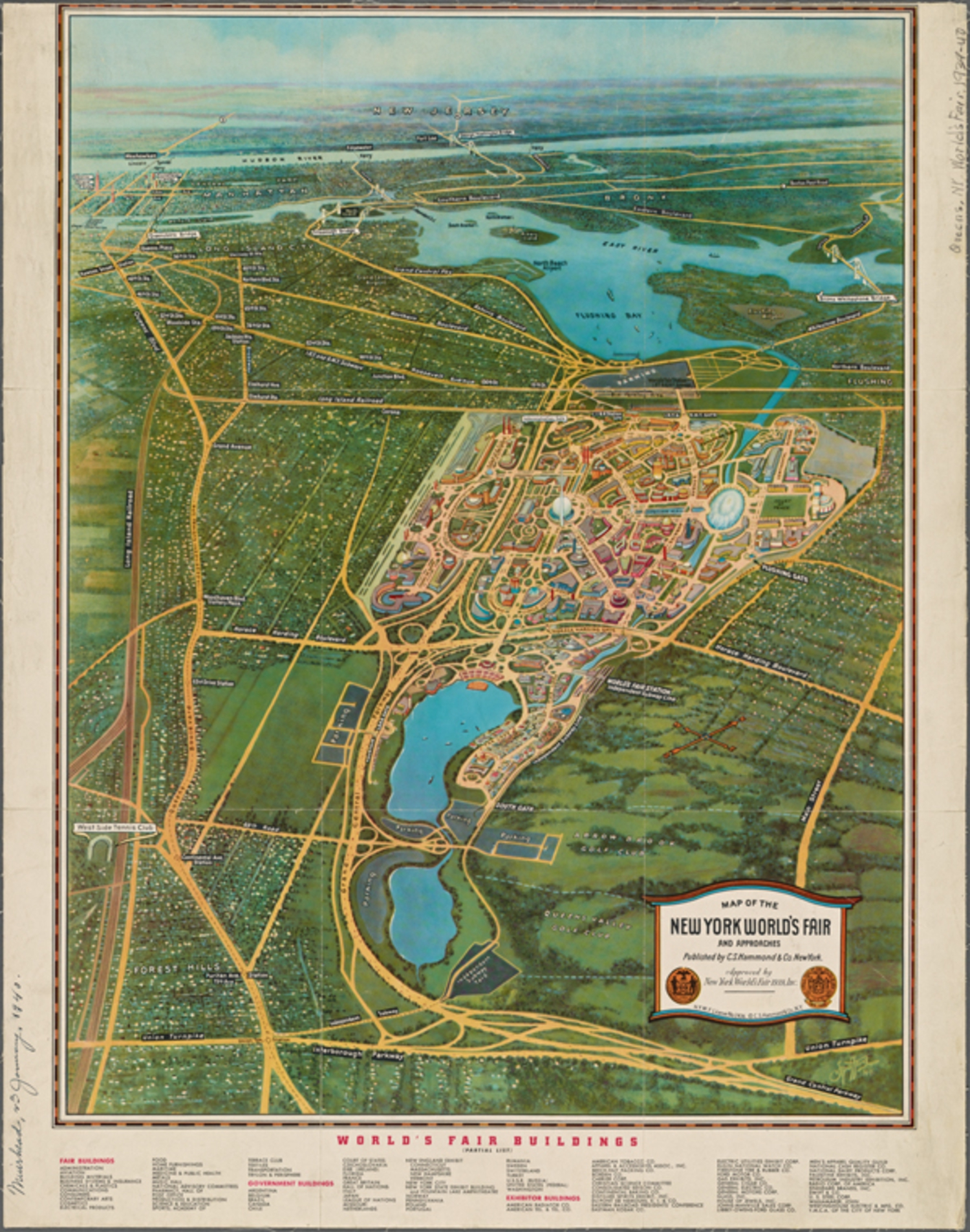 Map of the New York world's fair and approaches (1939)