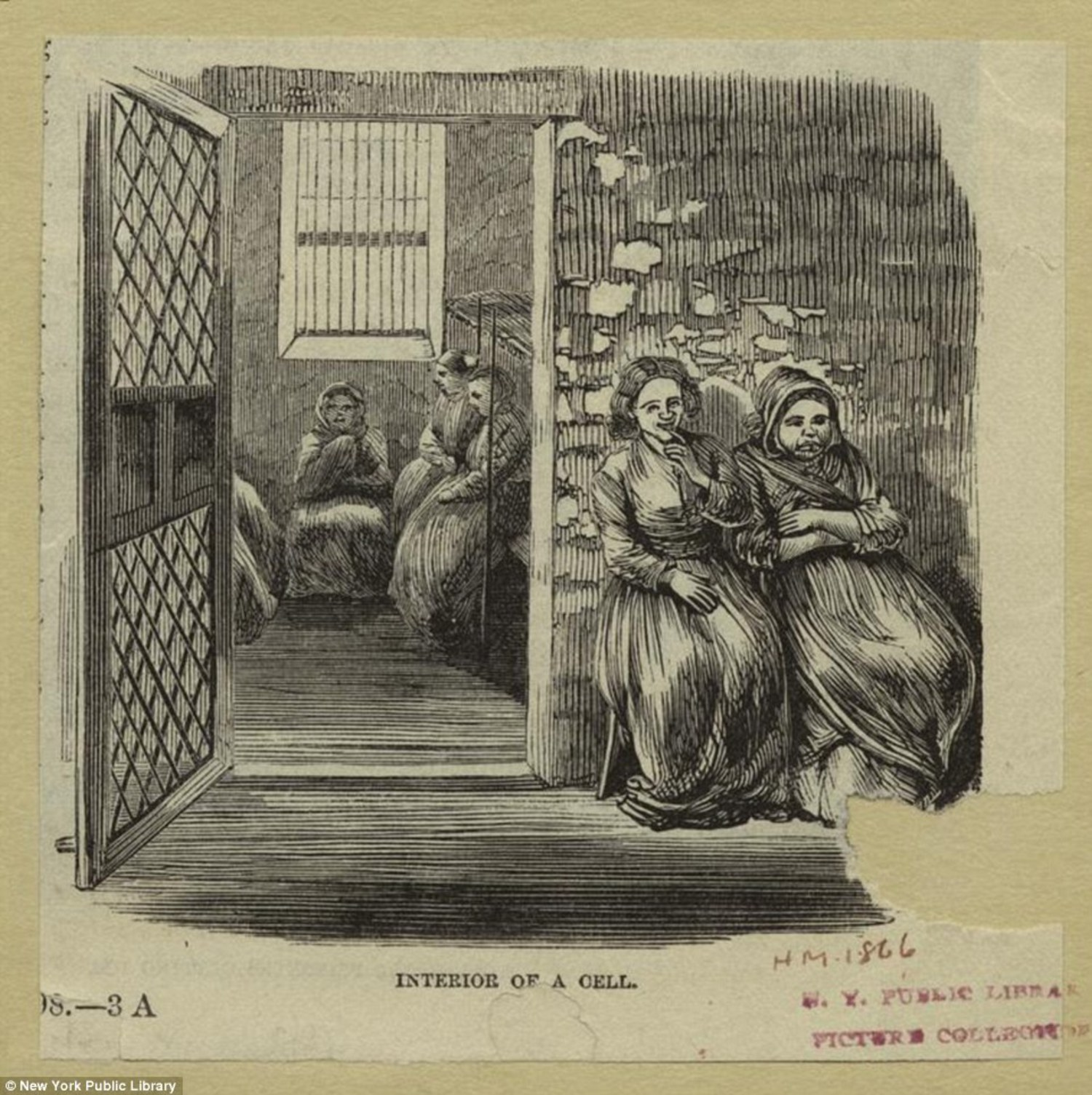 Women are pictured inside a cell on Blackwell's Island in this print released by the New York Public Library