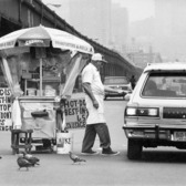 Hot Dog Vendor Under West Side Highway, 1981
