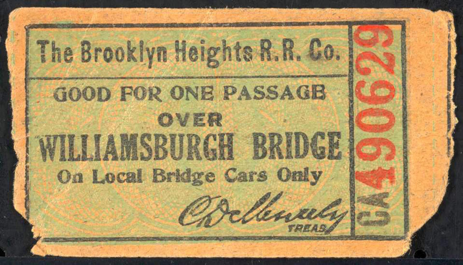 Good for one passage over Williamsburgh Bridge on local bridge cars only. Three rides 5 cents.
