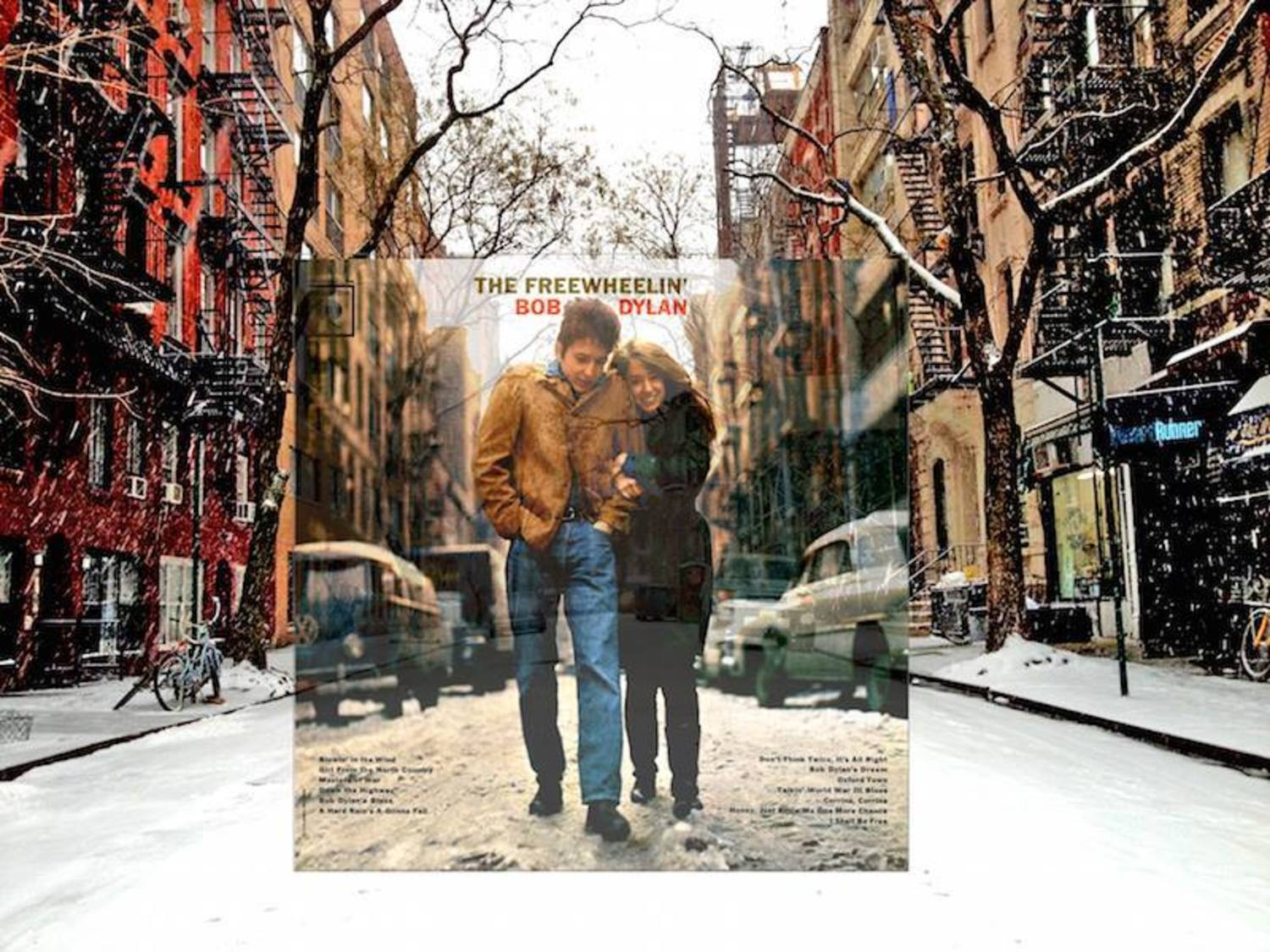 "FREEWHEELIN' - BOB DYLAN (1963, Columbia). . .Location: Outside 5 Jones Street near the intersection of West 4th Street, Greenwich Village, New York. . .Photo by Don Hunstein. . .After 2 hours of an indoor photoshoot at Dylan's apartment around the corner at 161 West 4th Street, Hunstein suggested they take some shots outside before the sun went down.. . .Dylan wore a thin suede jacket and his girlfriend Suze Rotolo wore a green Loden coat she had bought in Italy. . .Hunstein  told then to ""Walk away from me, then turn around and walk toward the camera,"" which they did several times. From his one roll of film of them walking through the slushy street, Columbia chose the now iconic cover."