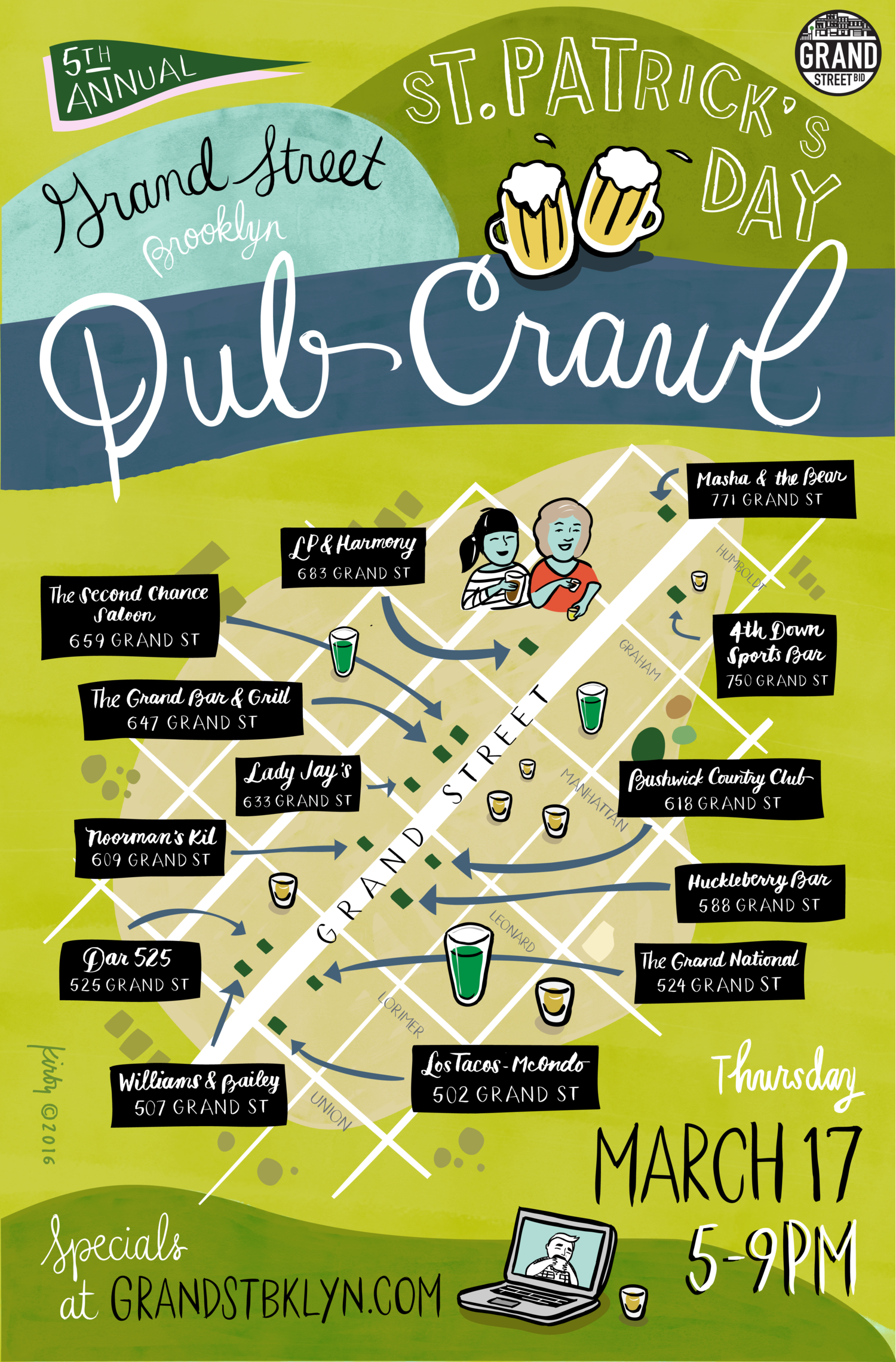 5th annual St. Patrick's Day Pub Crawl on Grand Street