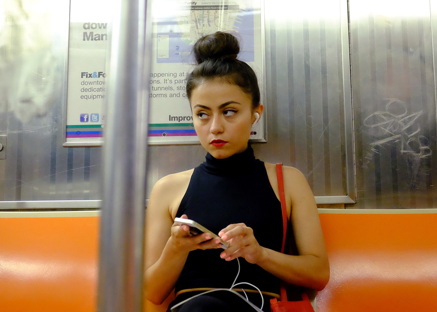 New York Street Scenes | July 10, 2014  Woman on the B train.