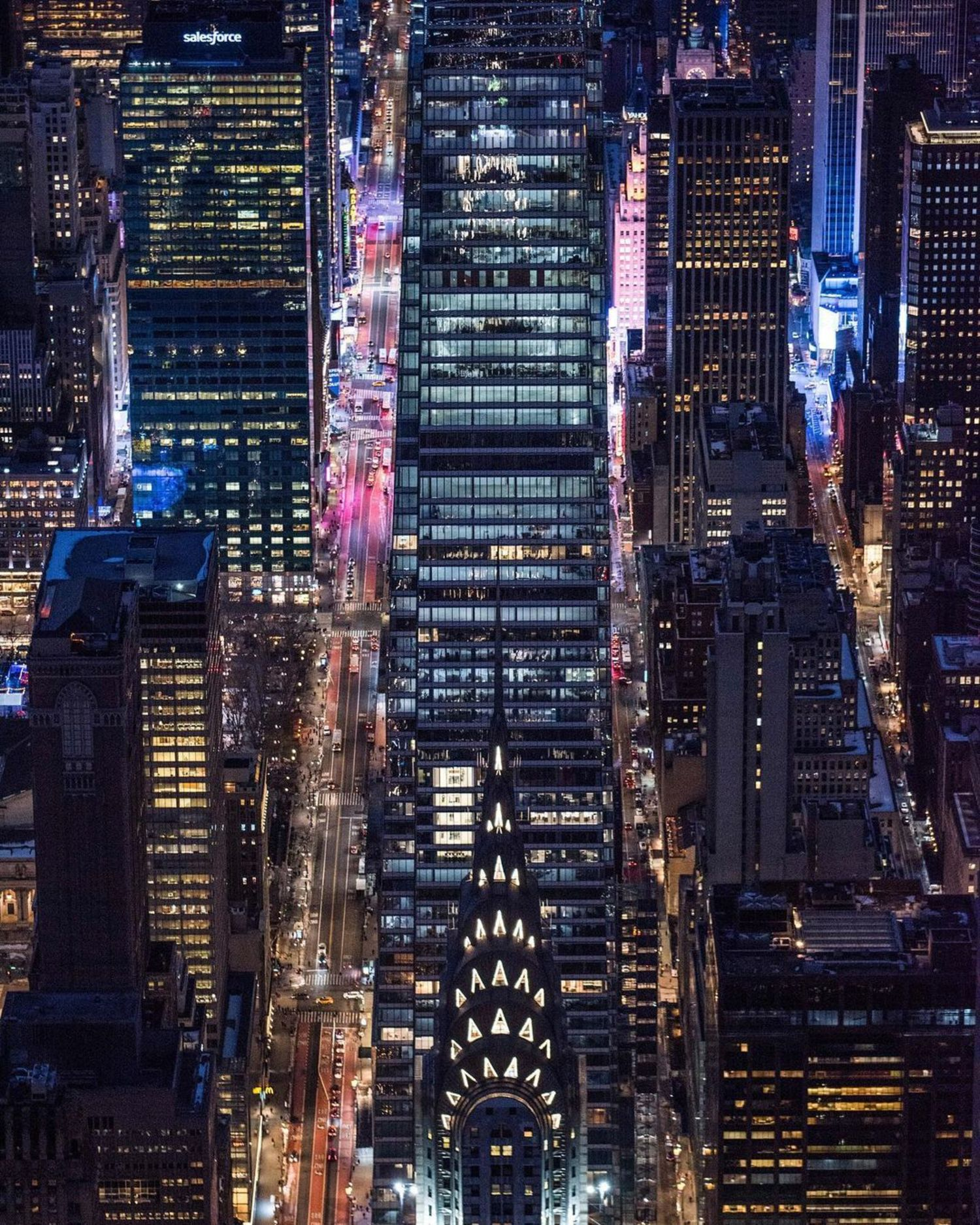 Chrysler Building, 42nd Street, & Times Square in Midtown, Manhattan
