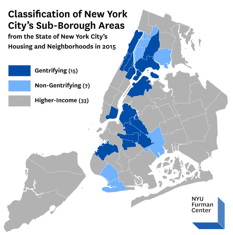 map showing new york citys 15 most rapidly gentrifying neighborhoods viewing nyc