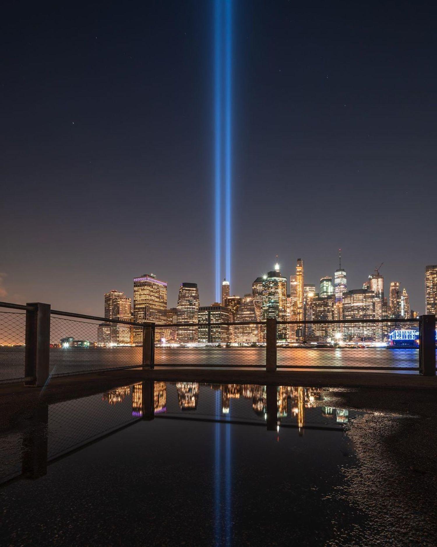 9/11 Tribute in Lights over New York City Skyline