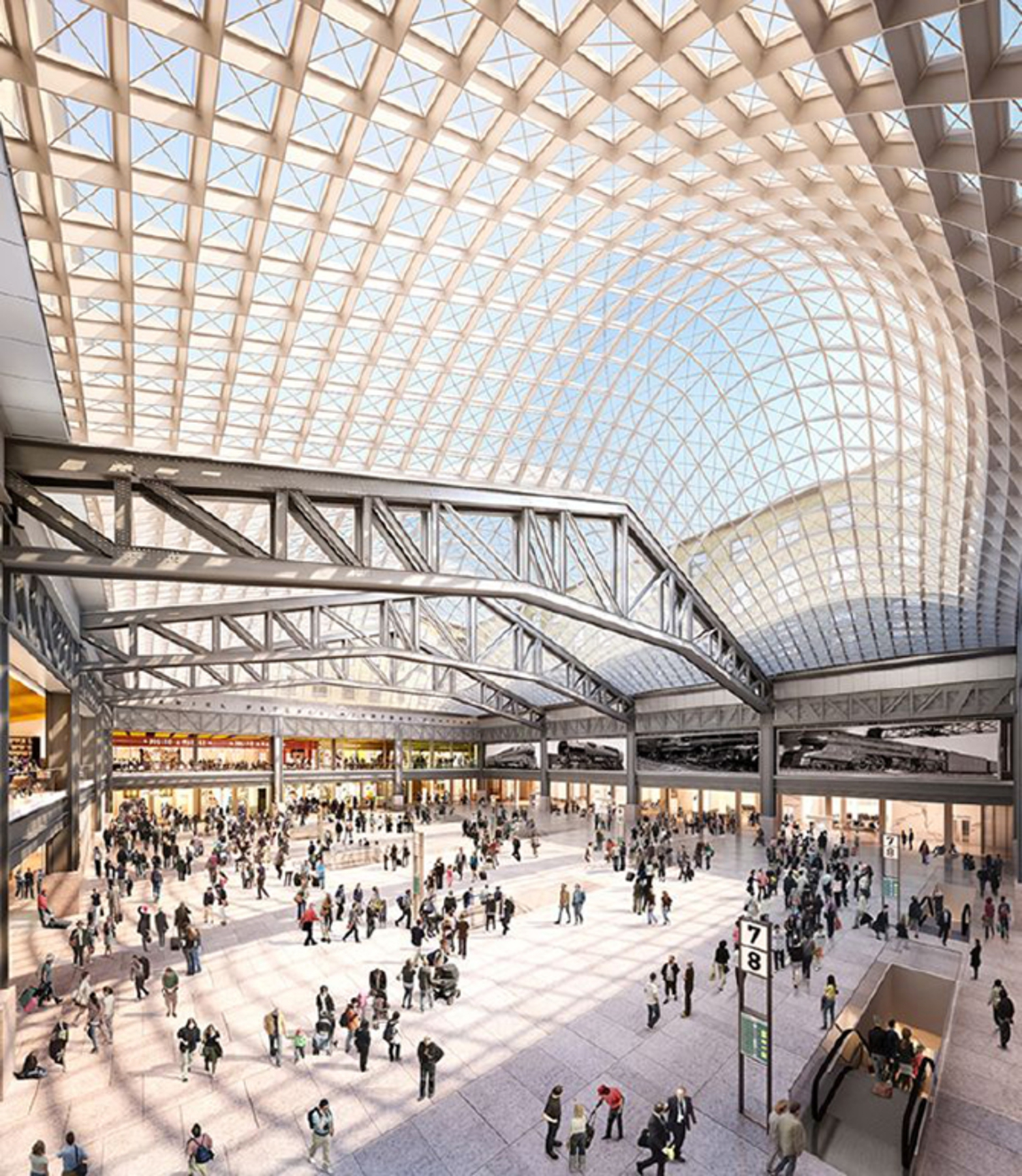 Numerous architecture firms have presented pitches for the proposed expansion—among them SOM, whose submission showcases a 486,000-square-foot waiting hall capped with a curved glass roof, attached to a shopping gallery and dining arcade.
