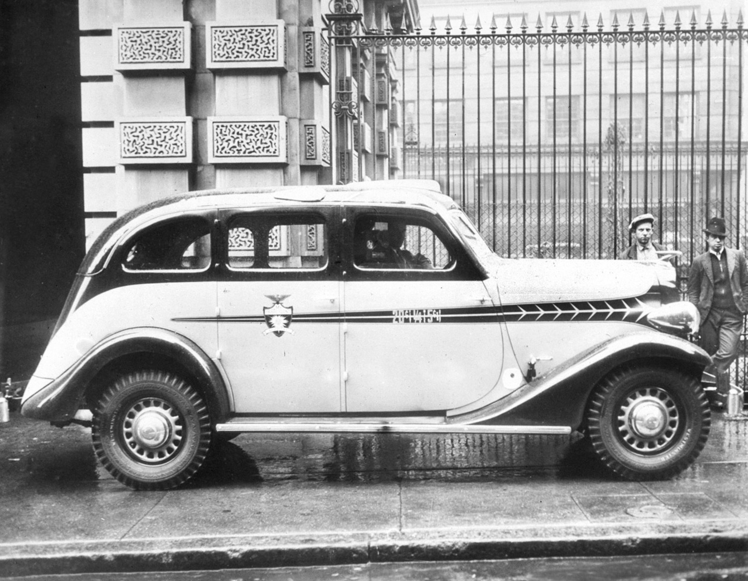 A new stream-lined taxi-cab in New York City in 1934. The new vehicle was roomier and more comfortable for passengers than earlier versions.