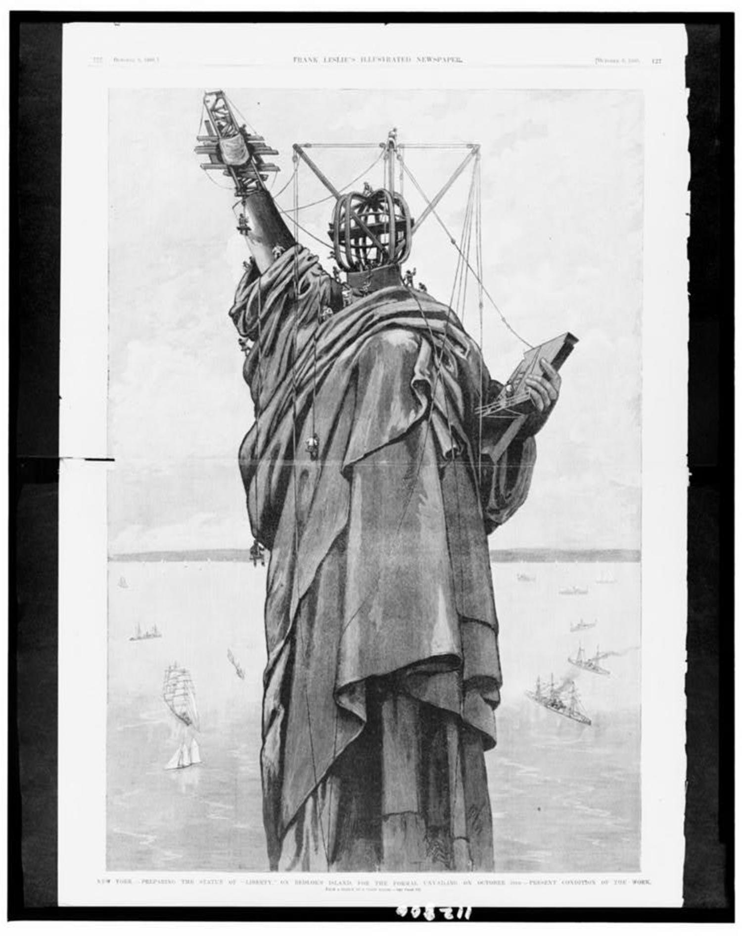 """Preparing the Statue of """"liberty"""" on Bedloe's Island, for the formal unvailing [sic] on October 28th - Present condition of the work / from a sketch by a staff artist. 1886."""