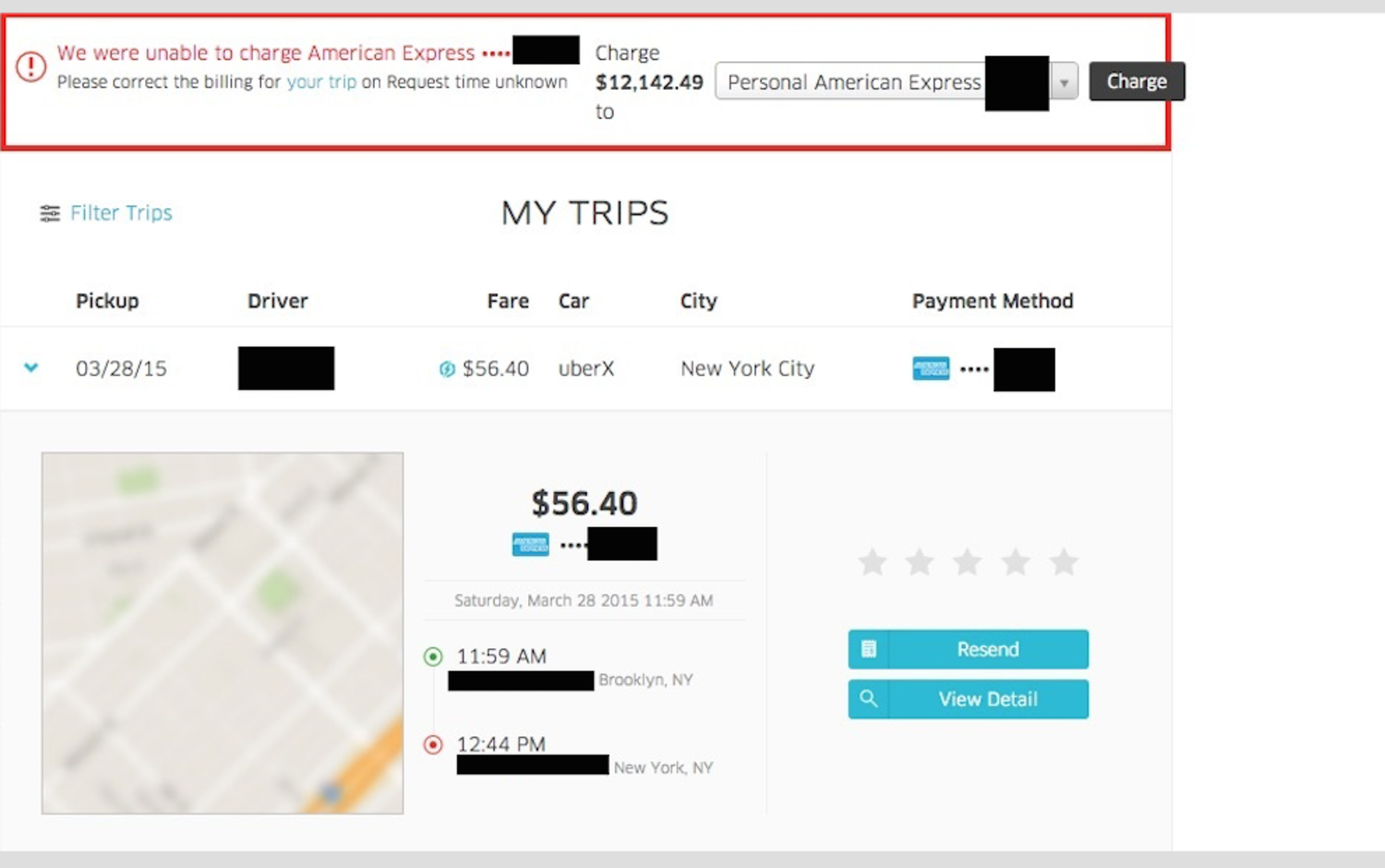 """Uber tried to charge my girlfriend over $12k for a 35 minute ride."""