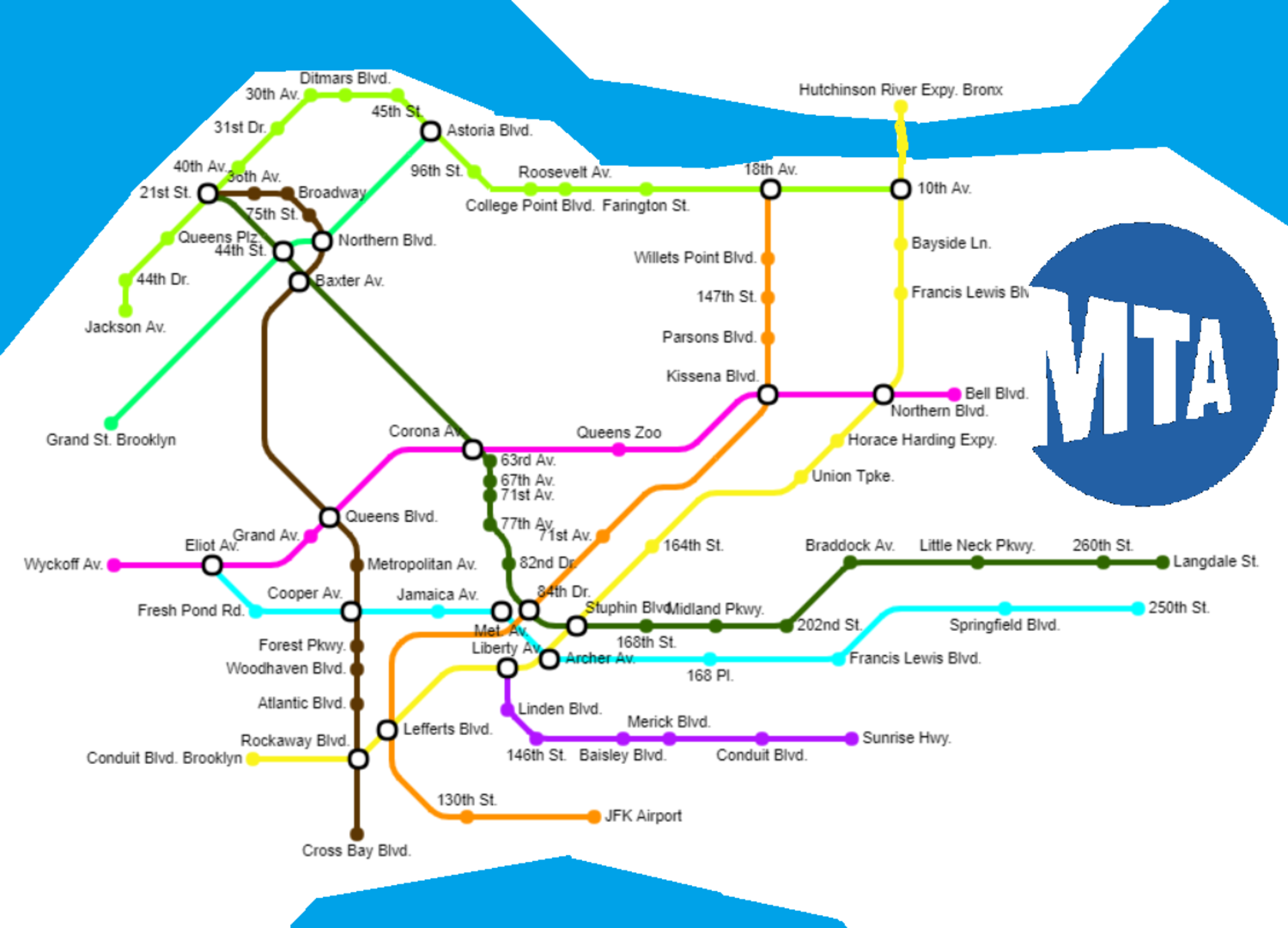 Here Is The Queens Subway Map If Every Subway Restaurant Was A