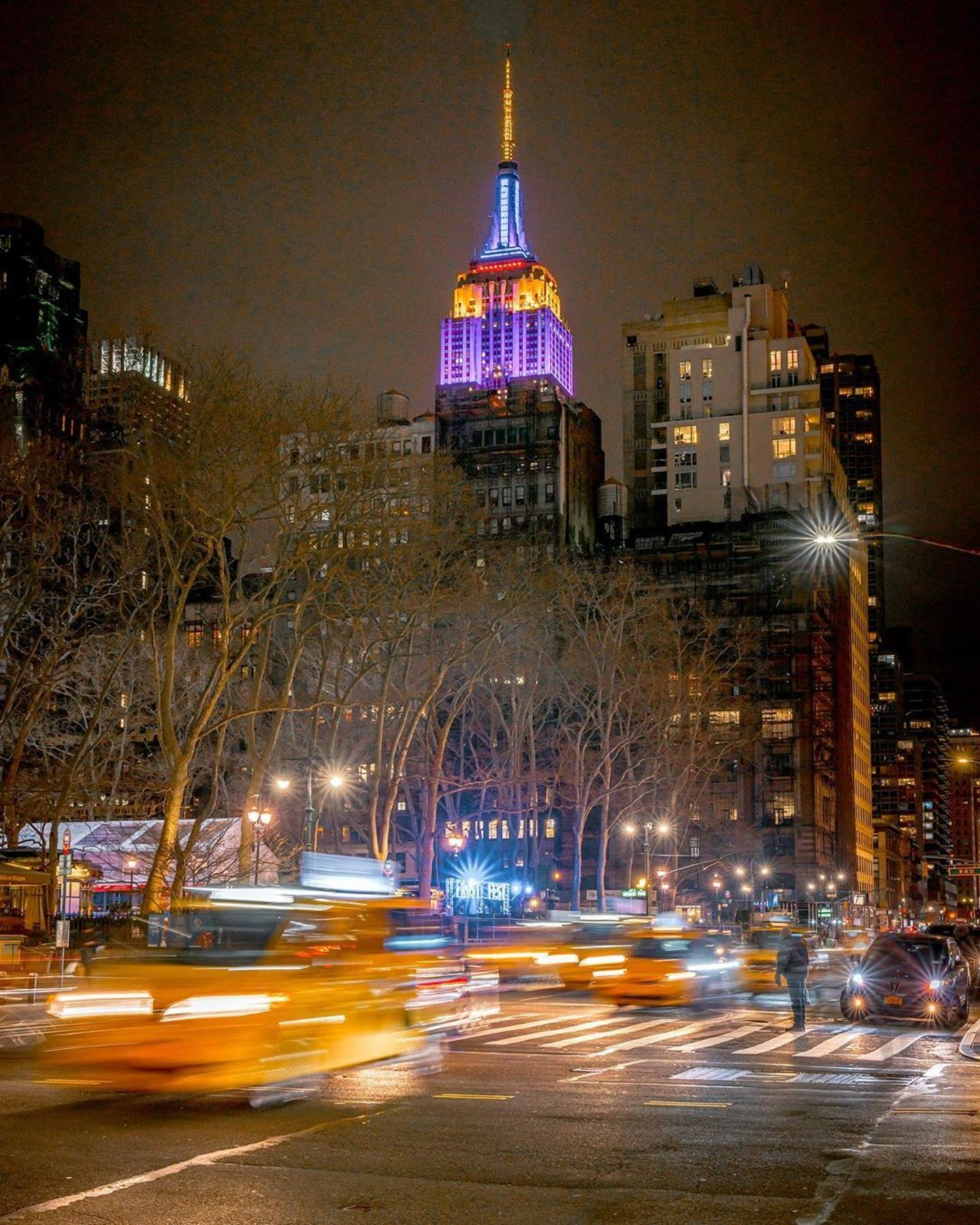 Empire State Building lit for Kobe Bryant, Midtown, Manhattan