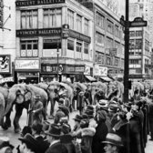 "April 4, 1937: The congestion in Manhattan on this Sunday afternoon was not your typical mix of cars and trucks, but a parade of pachyderms, in town for the Ringling Brothers circus show. ""The parade rumbled and clattered across the 125th Street Bridge, and from each corner children cried, 'Hey, what's in there?' "" The Times reported from Uptown, where covered wagons containing the circus's entertainments collected before the shows. ""They pointed to canvas covered wagon No. 57, and it seemed a shame to yell back, 'property,' which would have been infinitely too prosaic, though true. So the answer was 'lions,' 'tigers,' 'King Kong' and 'Mickey Mouse' alternately, and in most cases the questioners were properly thrilled."""