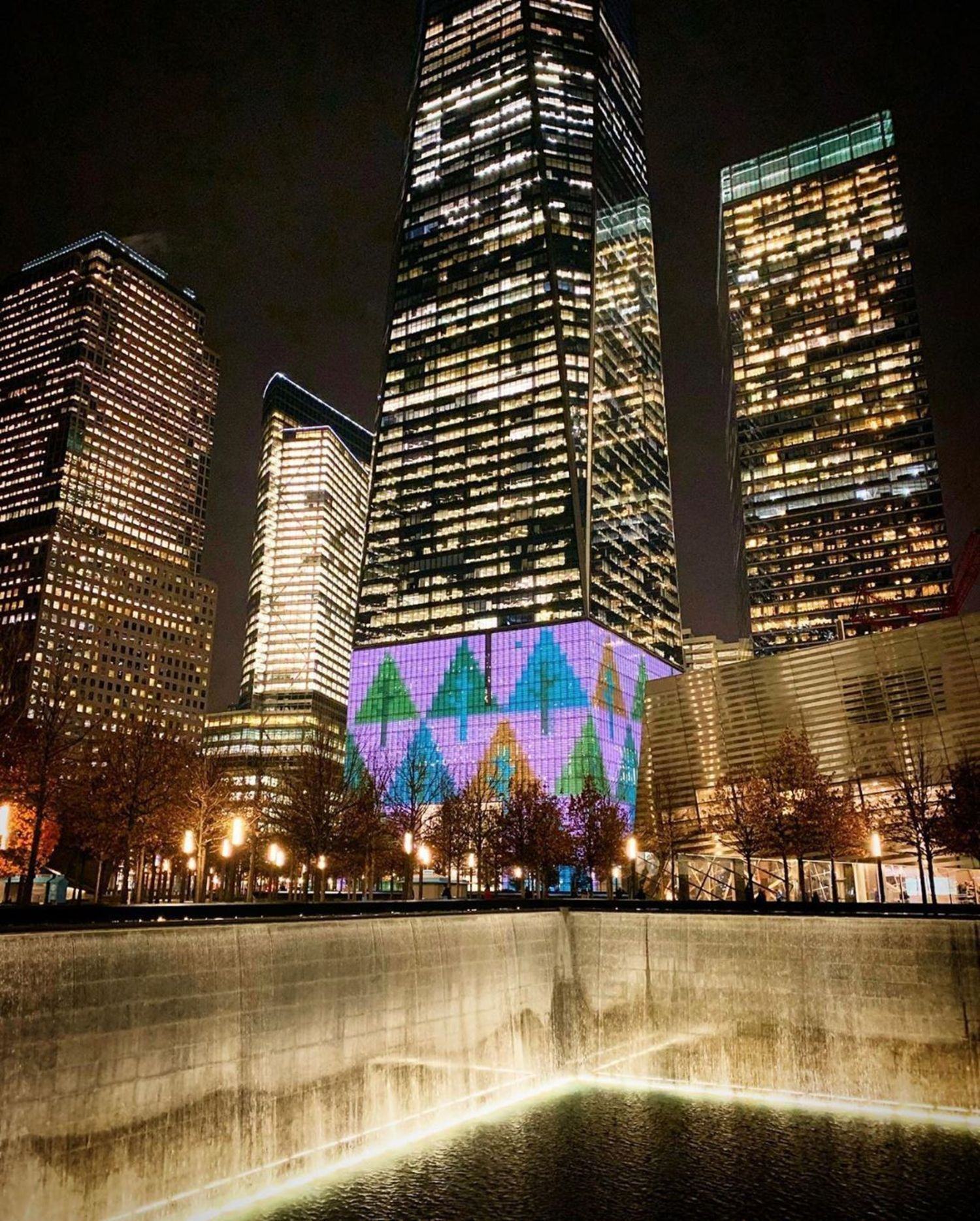 One World Trade Center and 9/11 Memorial Fountain
