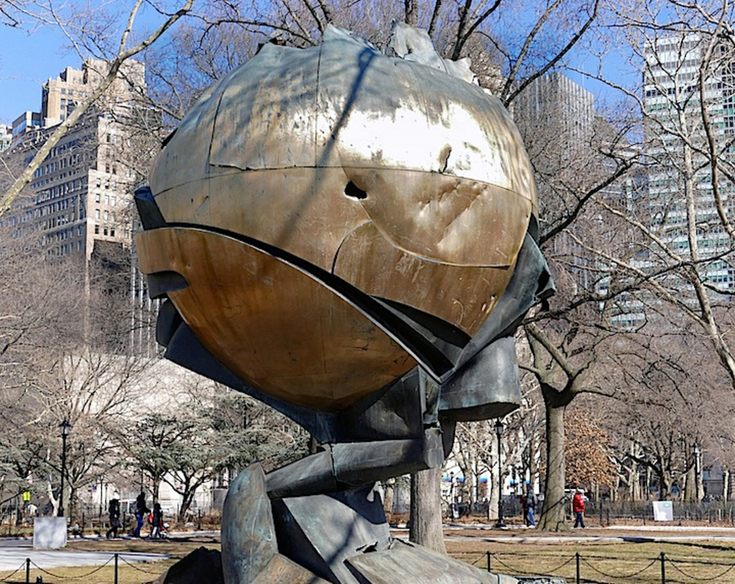 German sculptor Fritz Koenig, the Sphere, the sole surviving artwork from the grounds of the original World Trade Center