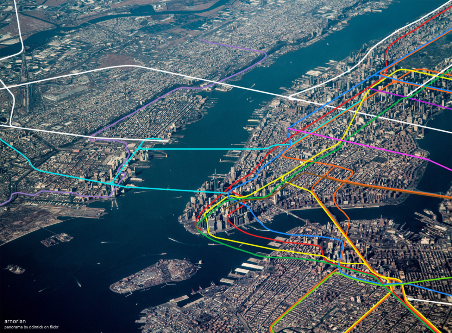 Sky view of New York City and its rapid transit network.