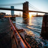 Sunrise over Brooklyn and Manhattan Bridges, New York