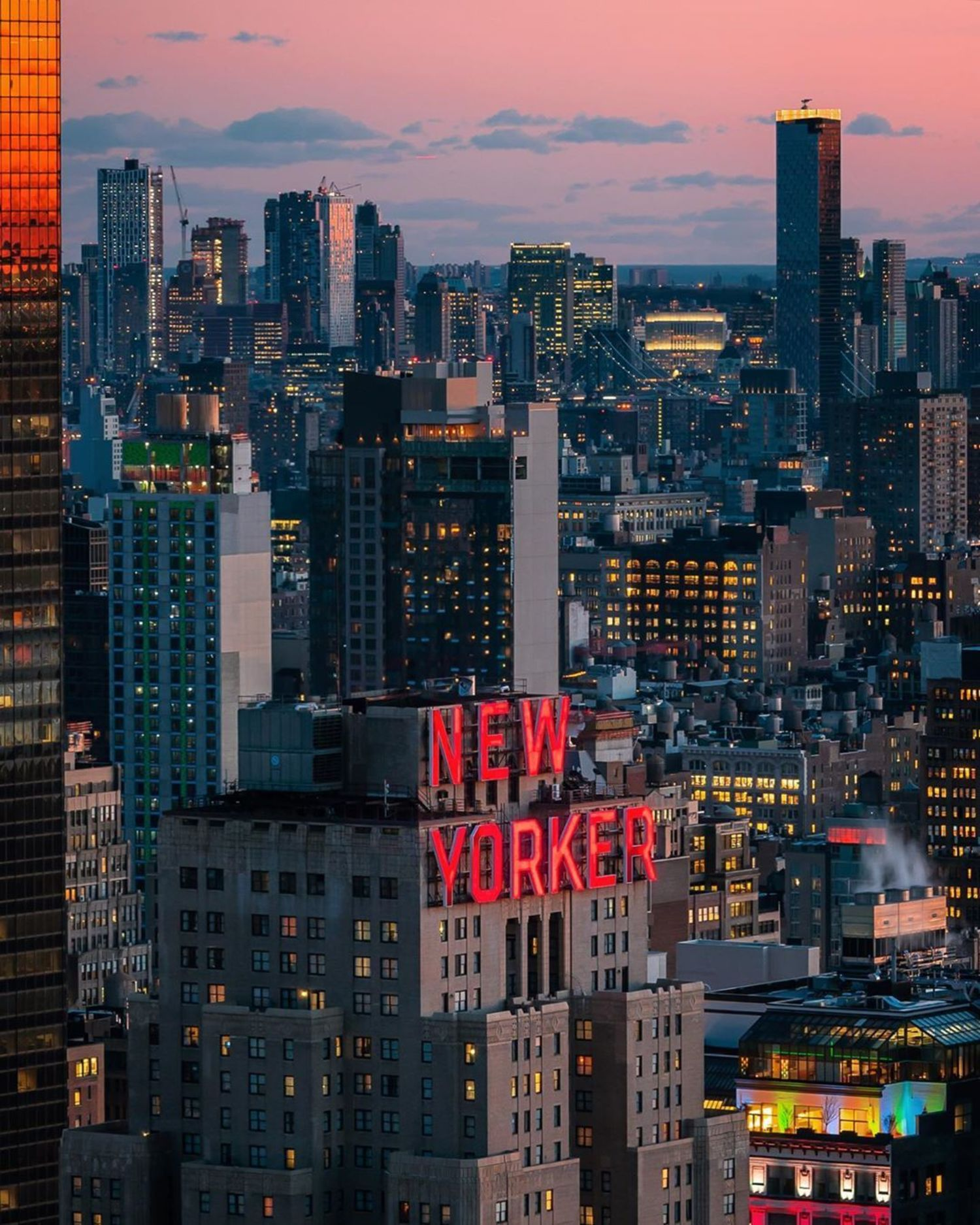Sunset over New Yorker Hotel, Midtown, Manhattan
