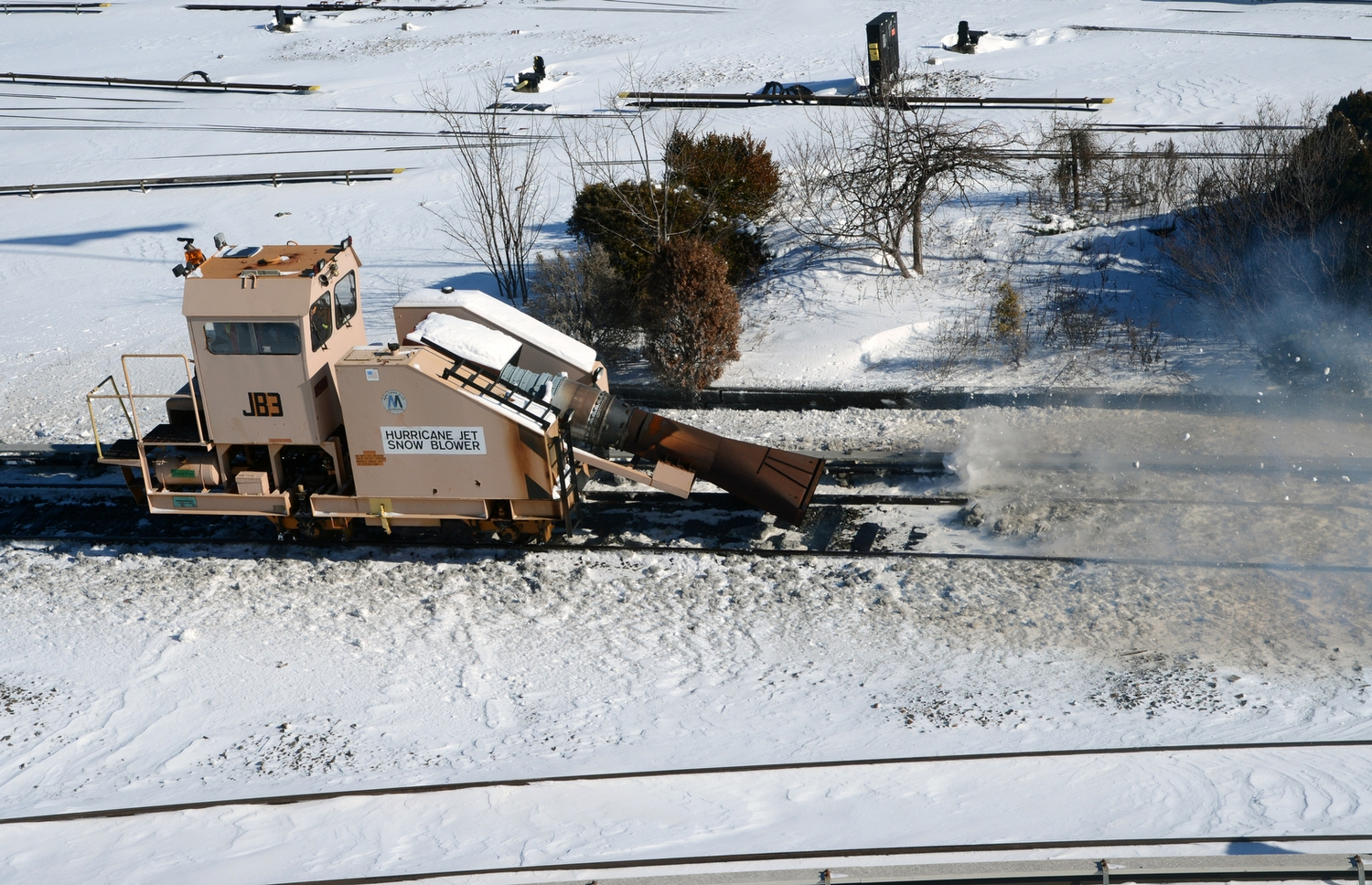 A Hurricane Jet Snow Blower clears a track in the Coney Island Yard. Photo: Marc A. Hermann / MTA New York City Transit
