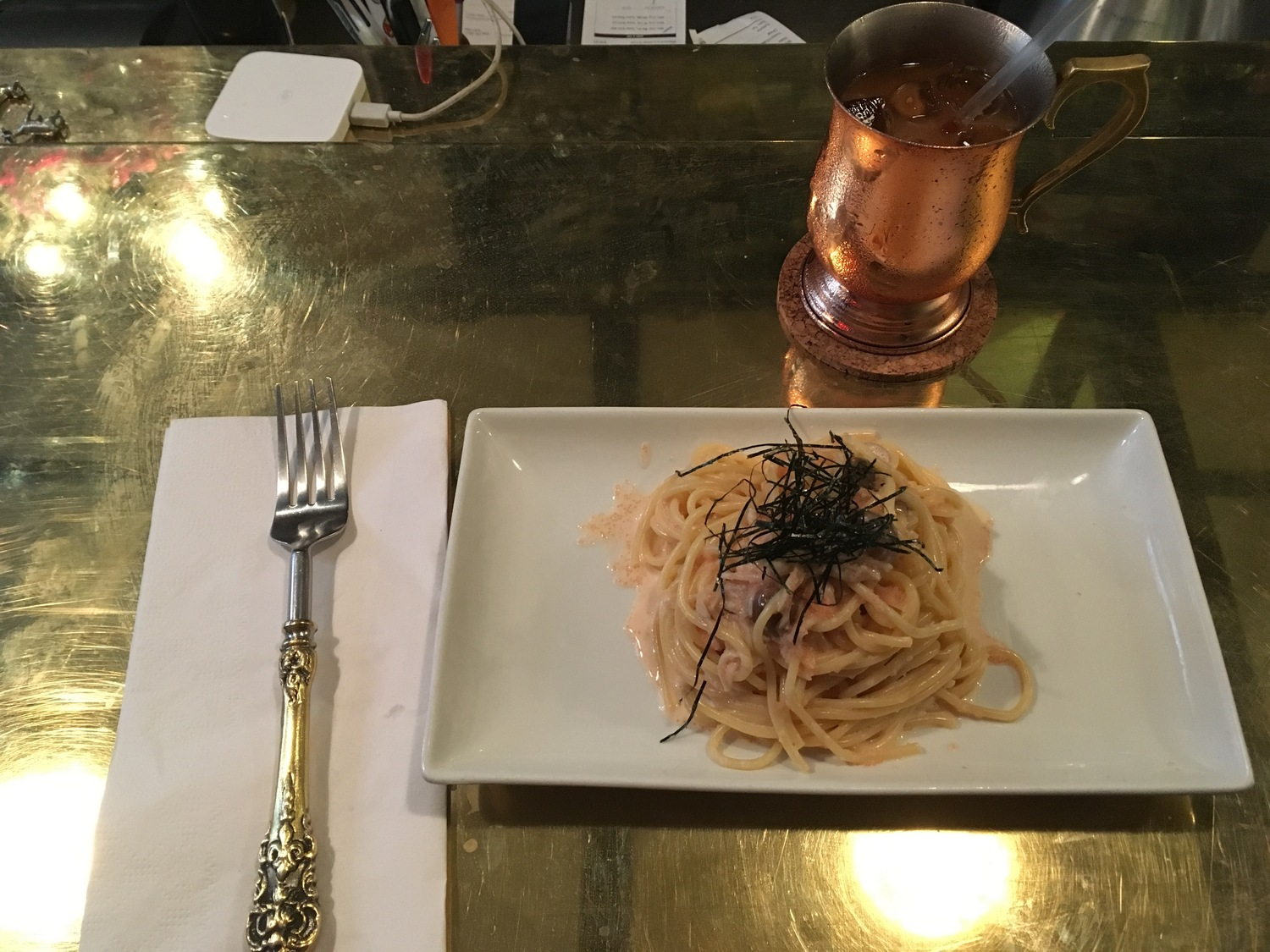 Pasta and Mizudashi Coffee