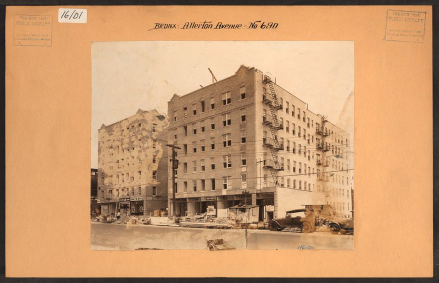 "Apartment buildings under construction along Allerton Avenue and White Plains road (you can see a sliver of the 2 line to the left of the image) in 1930. Image Credit: Irma and Paul Milstein Division of United States History, Local History and Genealogy, The New York Public Library. ""Bronx: Allerton Avenue – White Plains Road"" The New York Public Library Digital Collections."