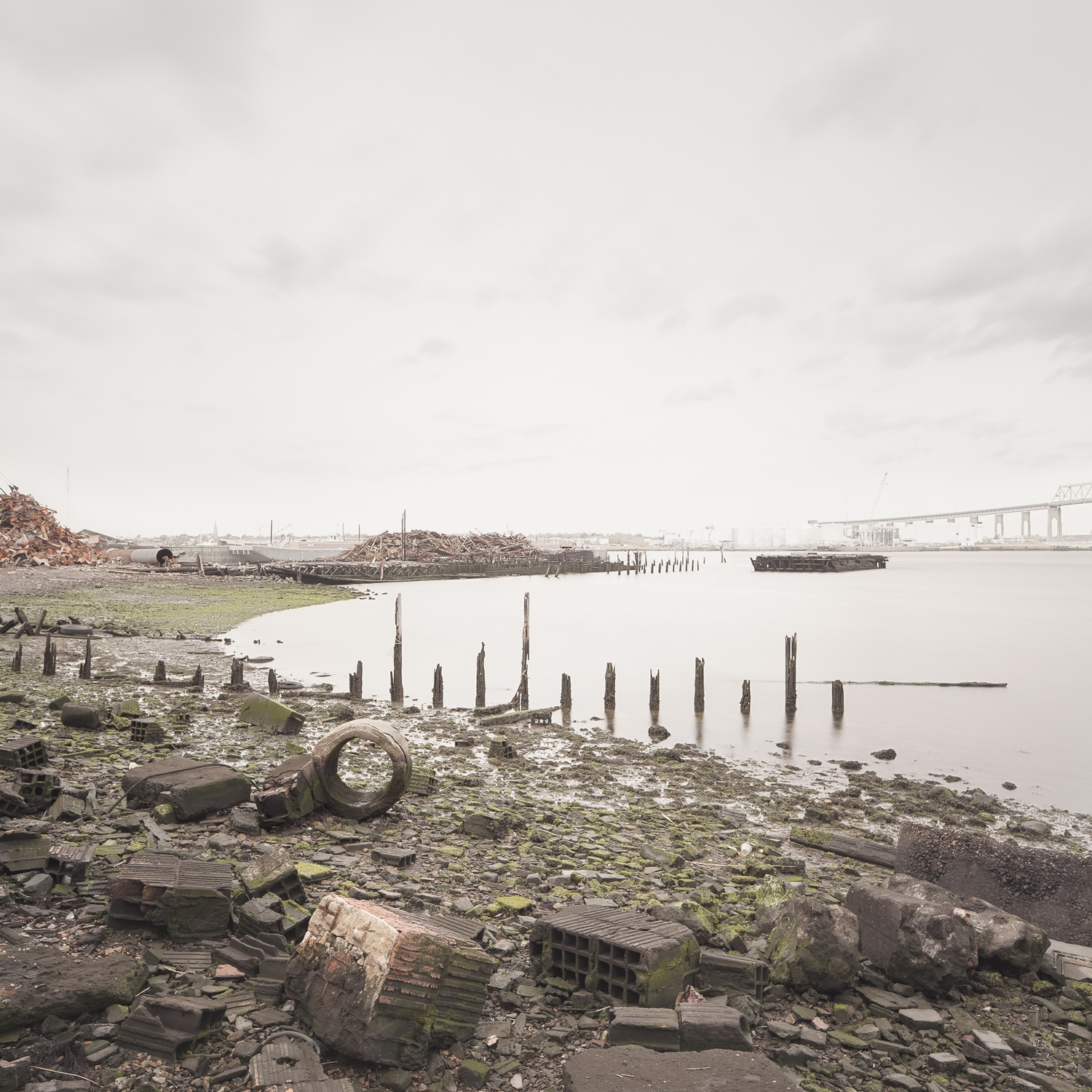 The remains of the Atlantic Terra Cotta Company factory line the shores of the Arthur Kill at the end of Ellis Street.