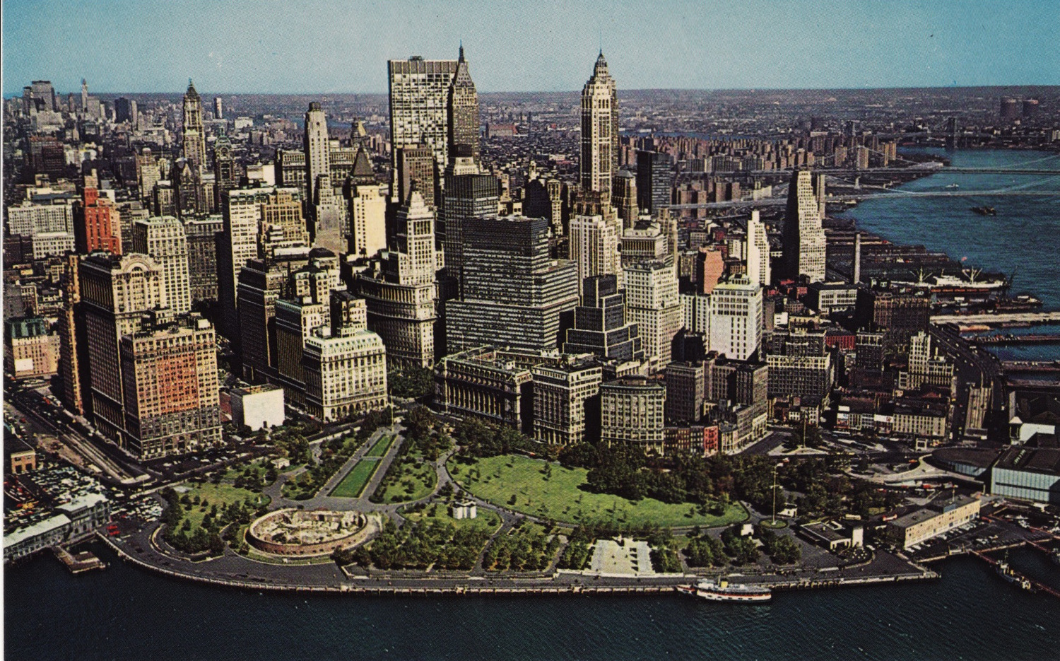 A close view of lower Manhattan's financial district looking north in 1963. Only a few post-war buildings have been constructed in the financial district.