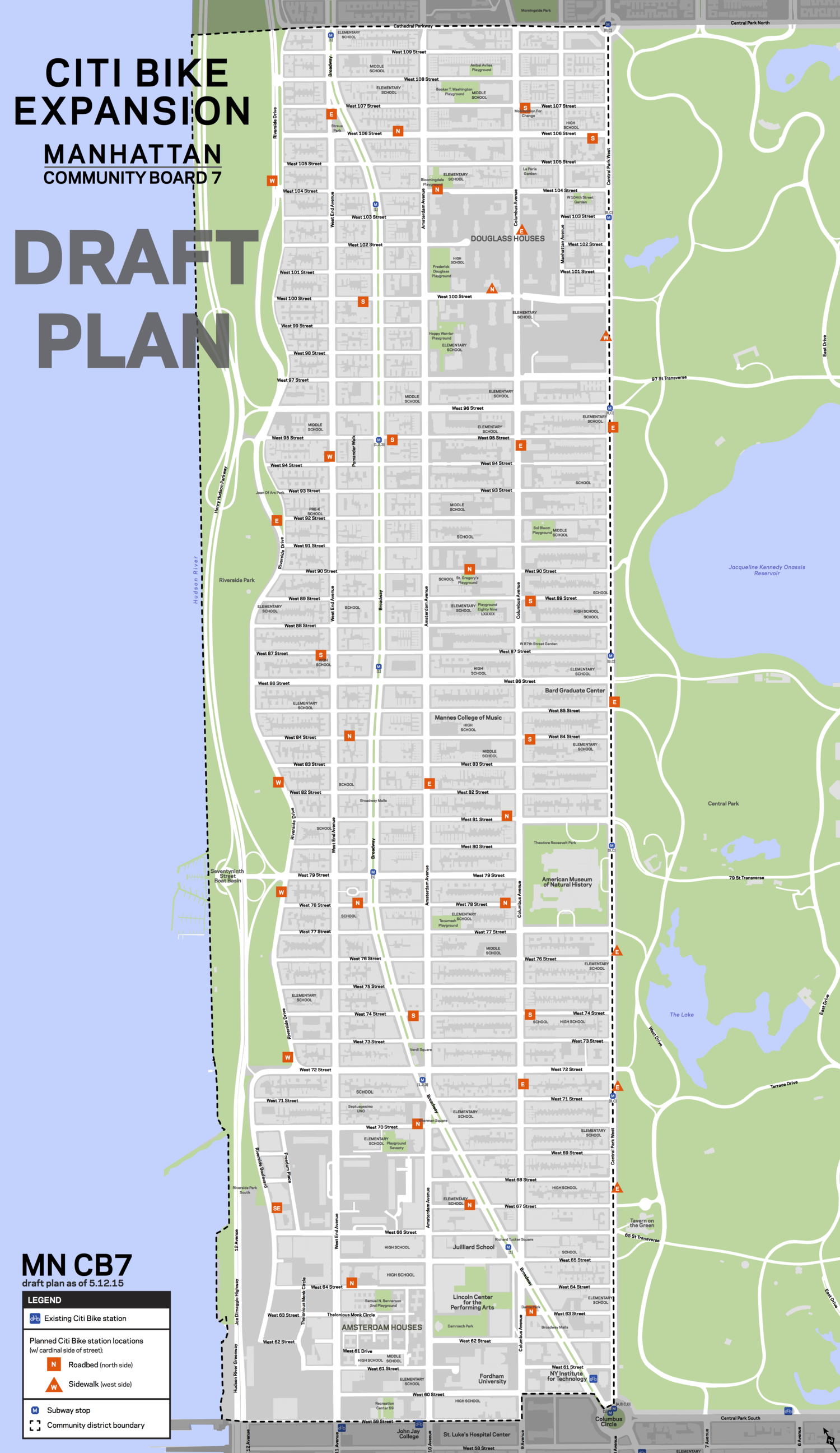 DOT is planning 39 bike-share stations between 62nd and 107th streets