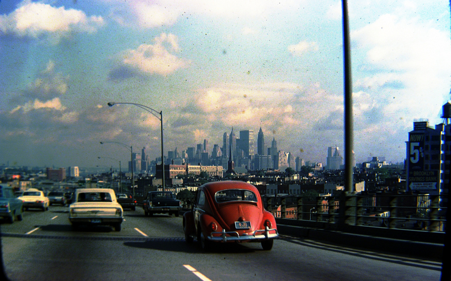 Lower Manhattan skyline from Brooklyn-Queens Expressway in Gowanus, Brooklyn, 1960s
