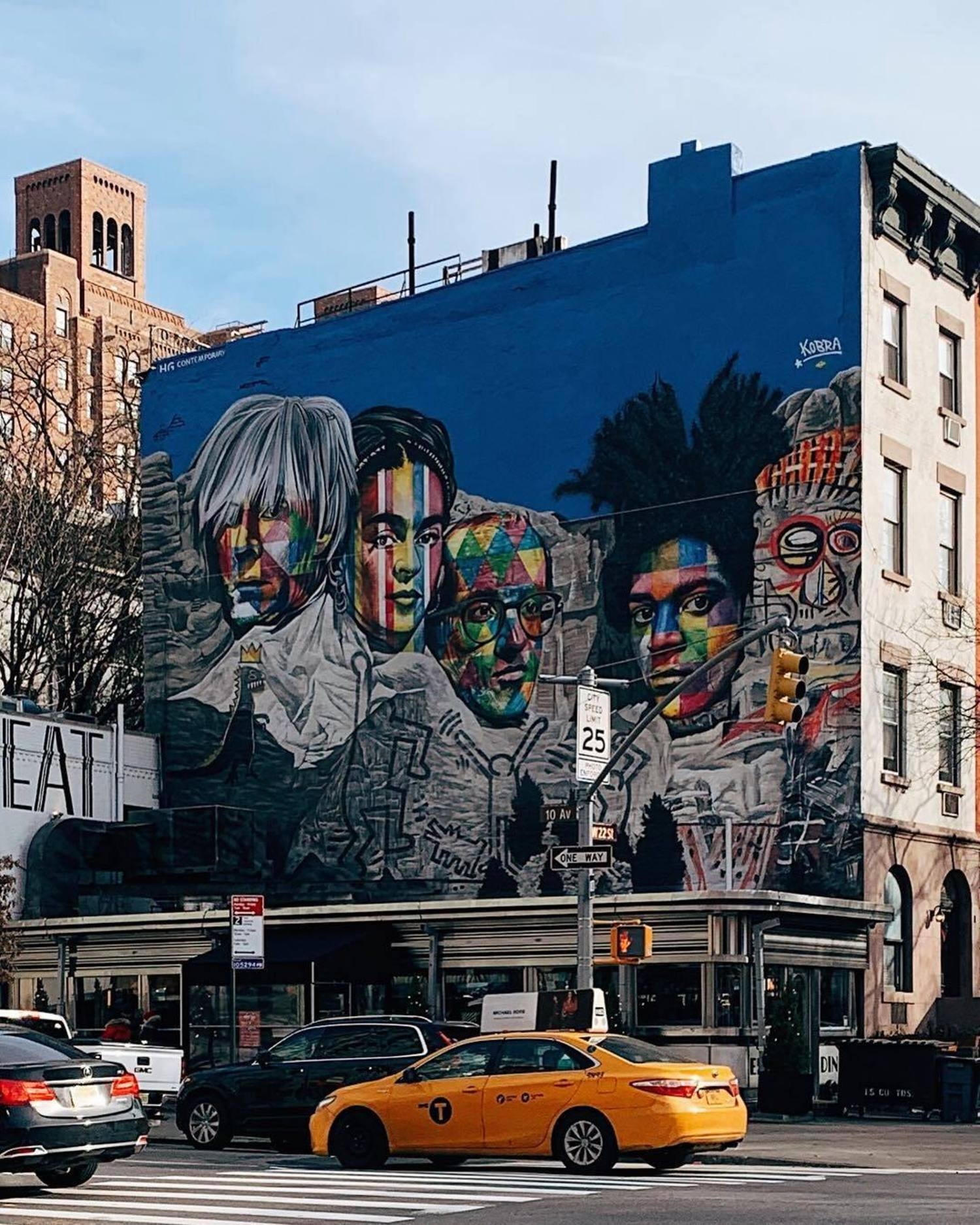 Mount Rushmore composed by Andy Warhol, Frida Khalo, Keith Haring and Jean-Michel Basquiat by Brazilian artist Eduardo Kobra 🎨