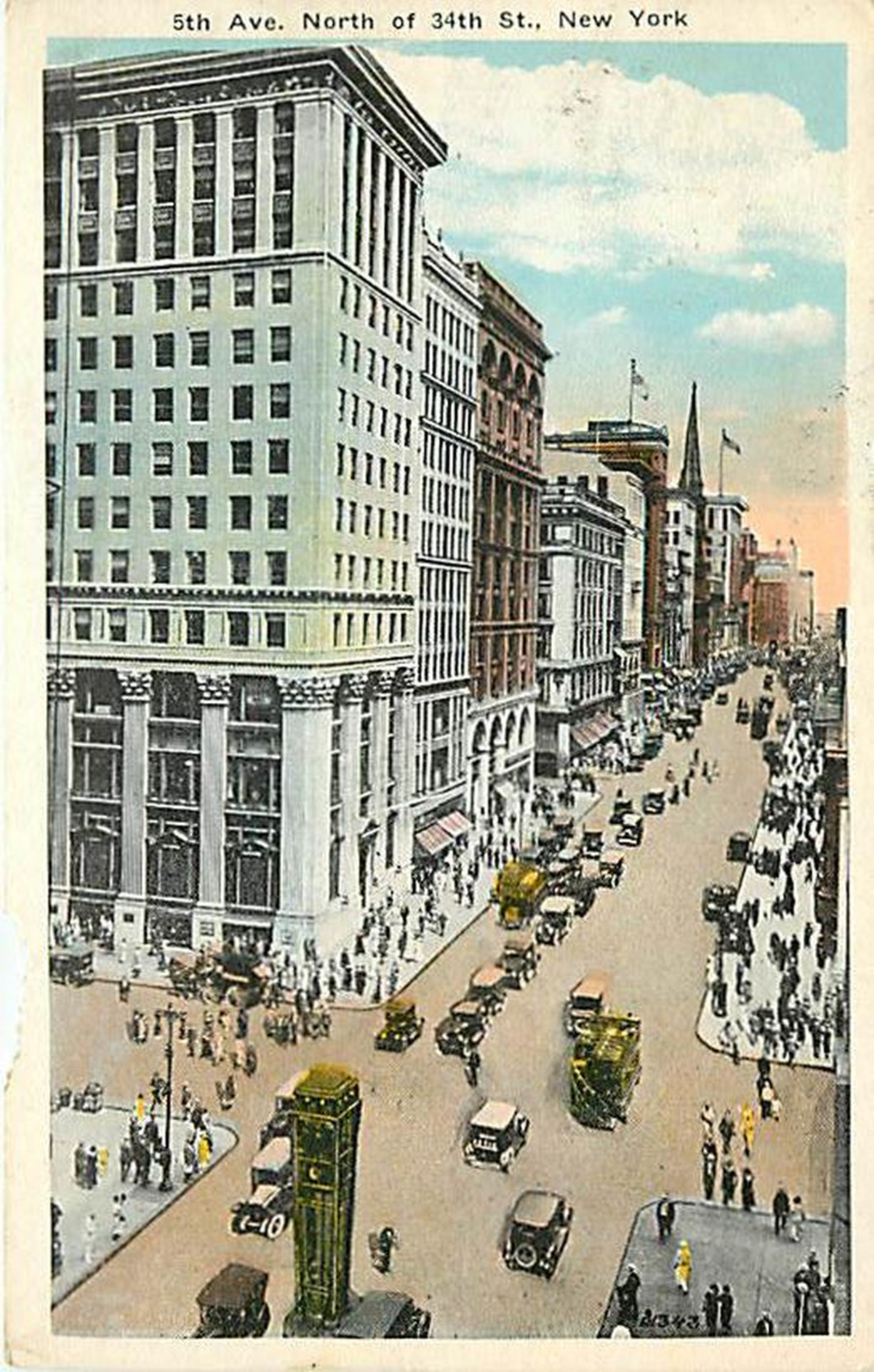 From around 1926 we switch the view around to look north from 34th Street. The building in the foreground is the mutilated Knickerbocker Trust Company. The ornate original three story building at 358 Fifth Avenue, designed by McKim, Mead & White was altered in 1921 with a 10 story addition (seen here) and completely renovated to its current mundane state in 1958. The large structure in the middle of the street at the bottom of the postcard is one of the first traffic signal control towers in New York City.