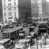 Streets of New York City in the Great Gatsby Era of New York in the 1920's