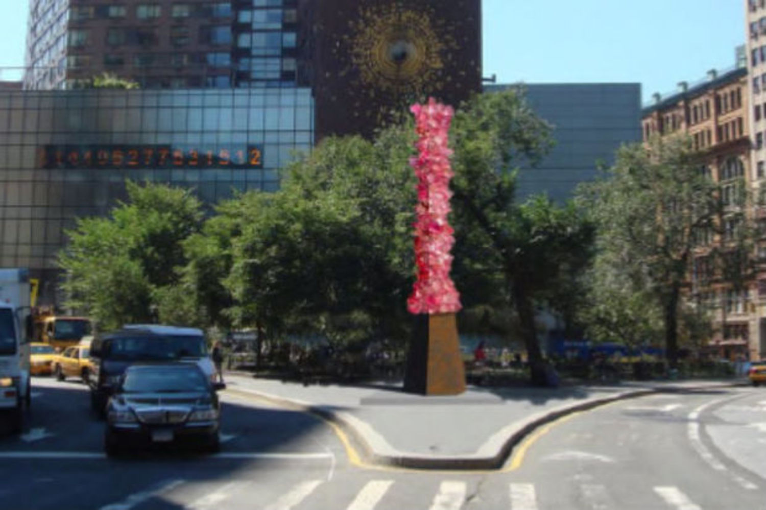 "An early rendering of Dale Chihuly's ""Rose Crystal Tower"" resin sculpture shows what the installation will look like when it comes to Union Square in October."