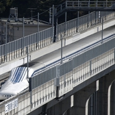 A magnetic levitation (maglev) train developed by Central Japan Railway Co.