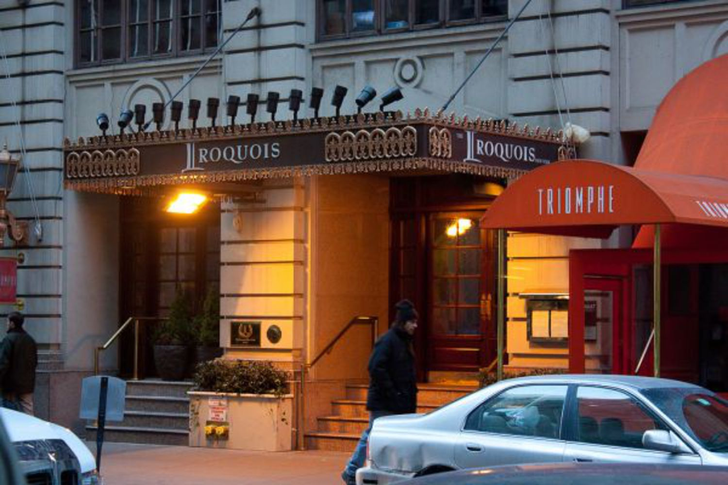 "Iroquois Hotel: Just down the street from the Algonquin Hotel on West 44th Street, the Iroquois New York Hotel opened in 1900. Although it does not have the same reputation for being an artistic and literary mecca as the Algonquin, it has had its share of celebrity visits. James Dean lived there for a time in the 1950s, and Jonny Depp was said to have stayed there at one point. Today its owners advertise the hotel as a ""luxurious"" midtown refuge."