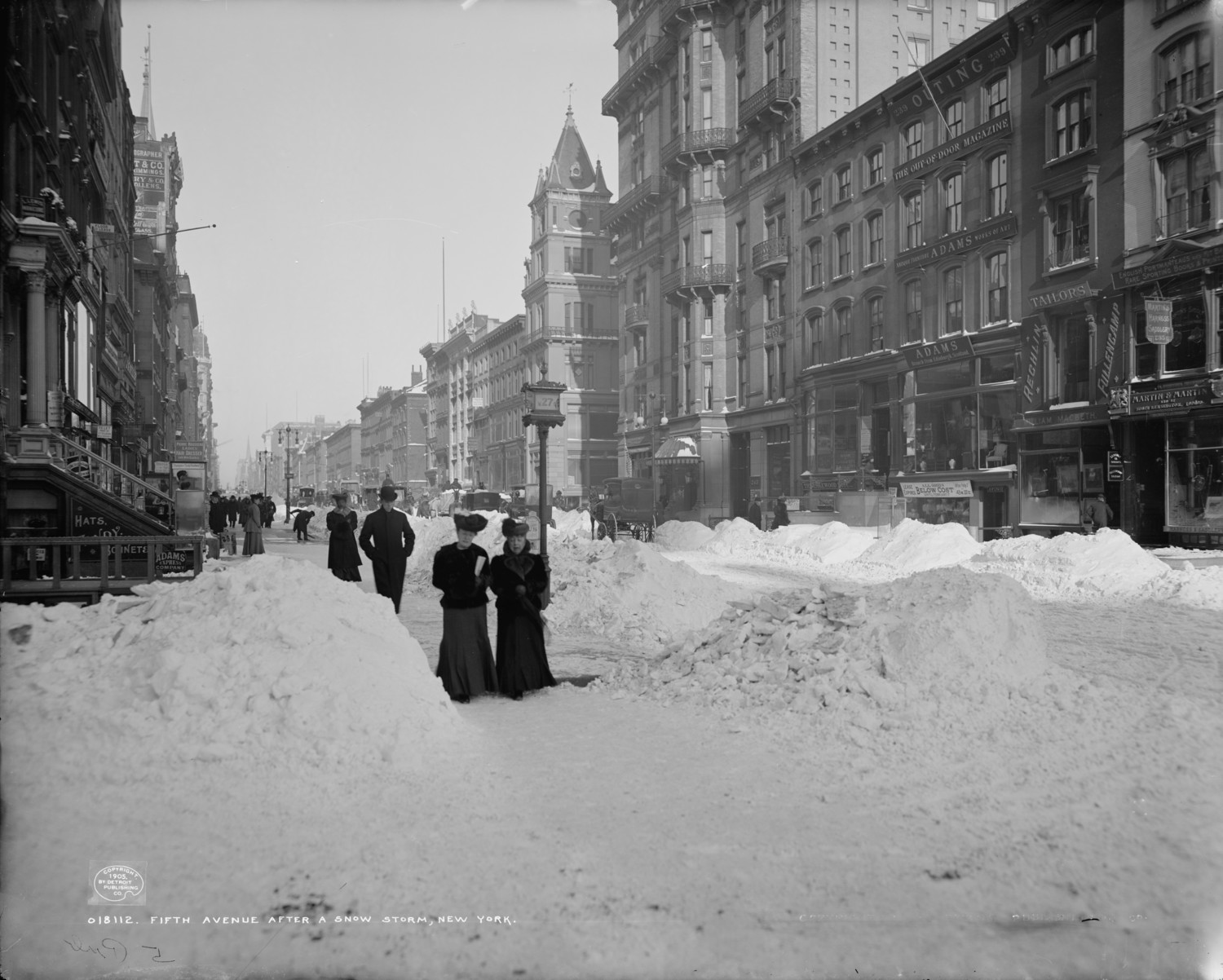 1905 Fifth Avenue & 27th Street after a big storm photo Detroit Publishing