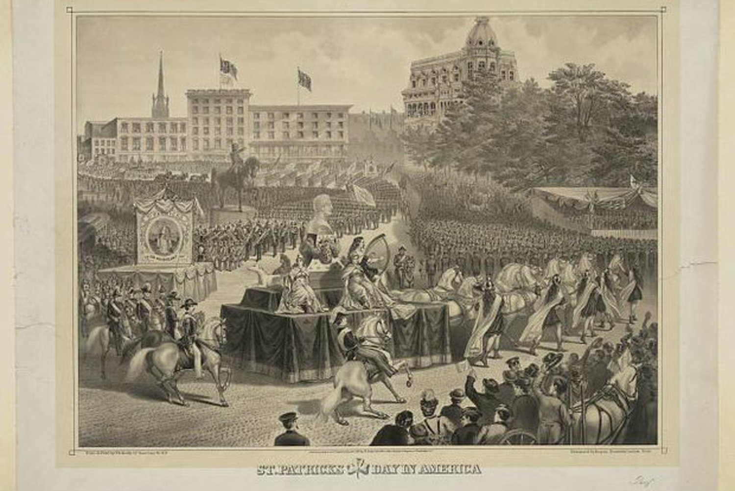 A 1974 lithograph print shows the portion of a St. Patrick's Day parade in Union Square.
