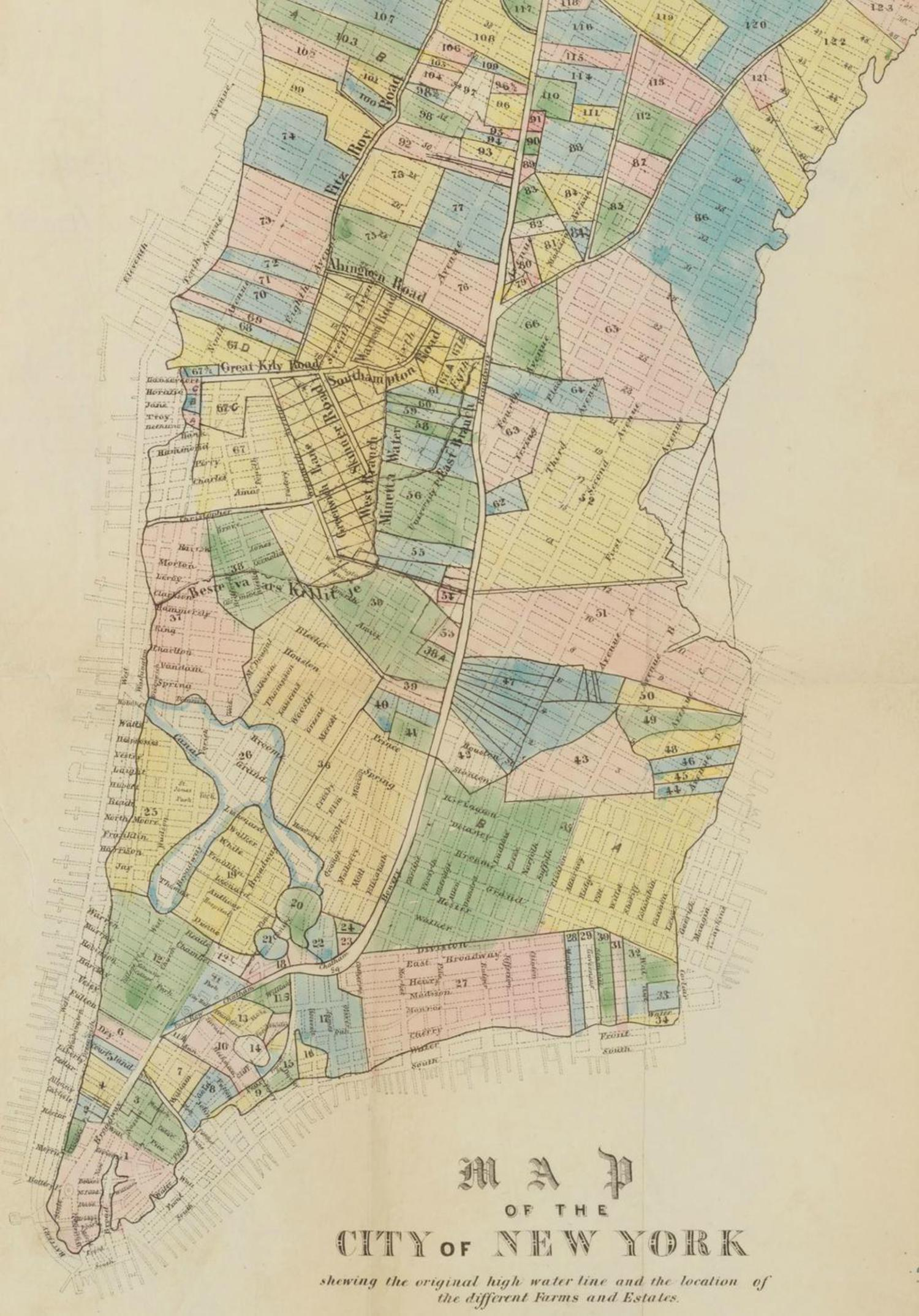 Vintage Map of the City of New York Circa 1852