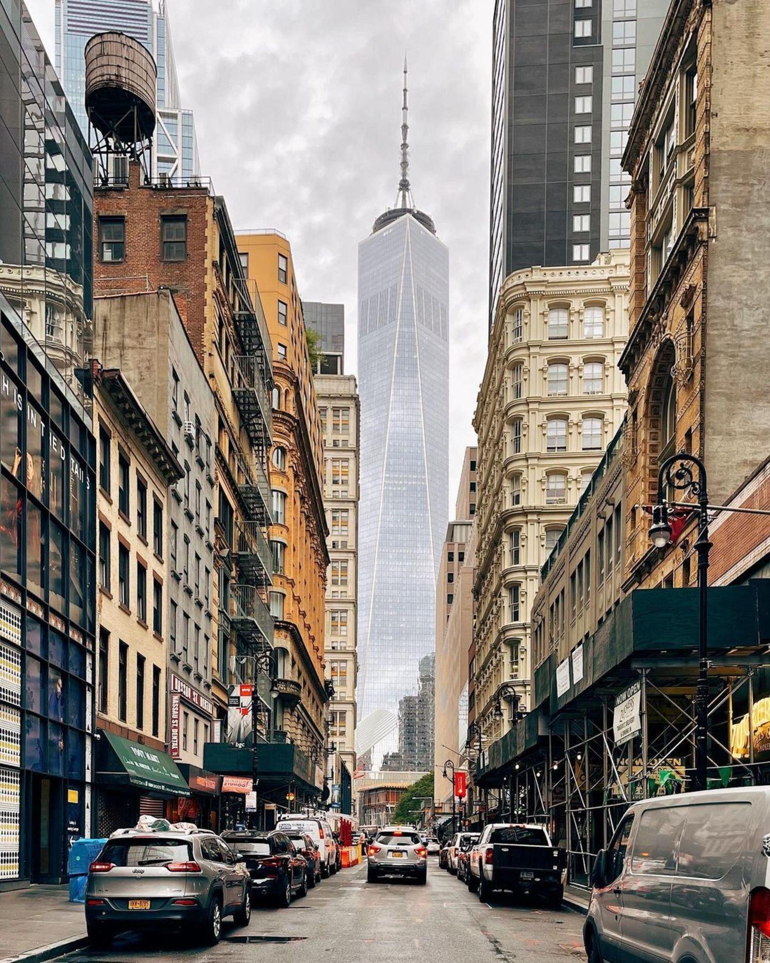 Looking down Fulton Street towards One World Trade Center, Financial District, Manhattan