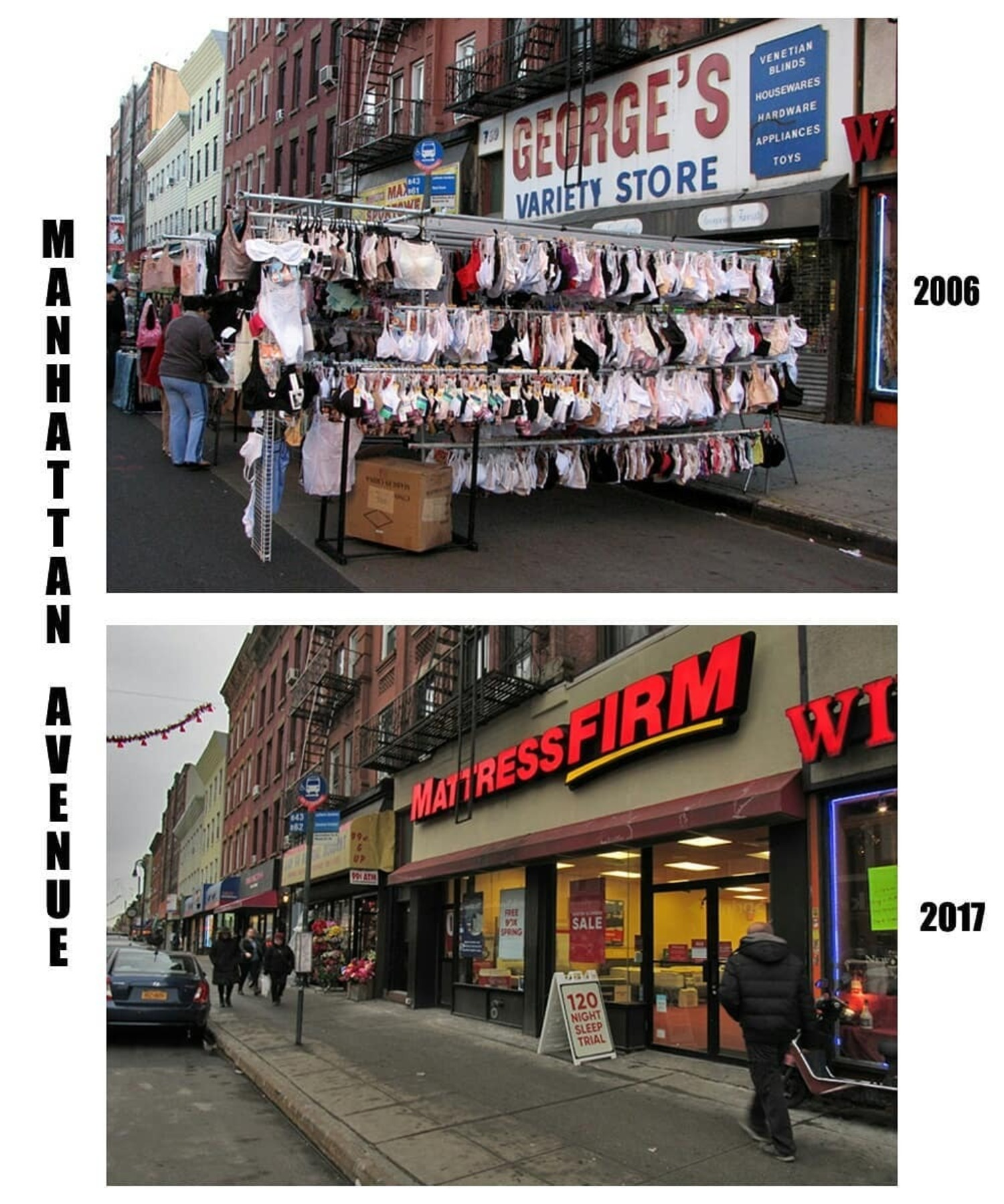 George's Variety Storefront (and some bloomers!) / Mattress Firm.  George's Variety Store, a fixture on Manhattan Avenue for decades, had everything!  #greenpoint #brooklyn #oldschool #nyc #signage #retro #vintage #signs #storefront #oldstore #oldsignage #beforeandafter #thenandnow #street #shopping #mattress #manhattanave #varietystore #neighborhood #disappearingnewyork #oldnewyork #11222 #718 #potd #gone #bra #underwear #streetfair #greenpointhistory