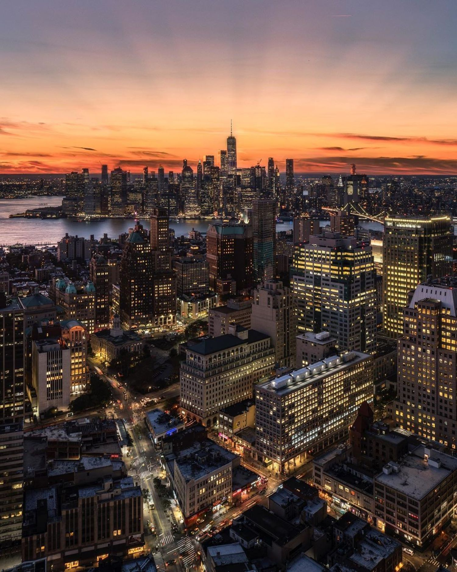 Sunset over New York, New York
