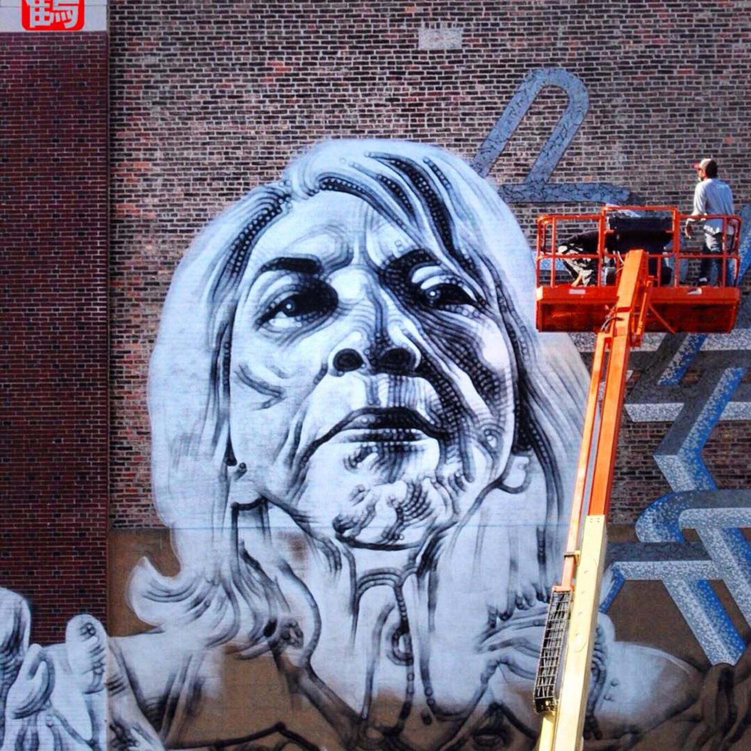 #celsoart colaboration with the impressive @mac_arte for #monumentart #monumentartnyc #streetart #urbanart #publicart #workinprogress photo by @thewanderingcrane