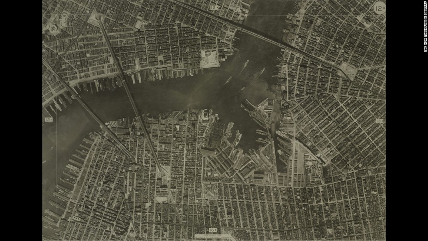 In the days before Google Maps, cities relied on aerial photos to help create street maps (back then they were on paper, kids). This aerial photo of New York was taken in 1924 by the city's Bureau of Engineering
