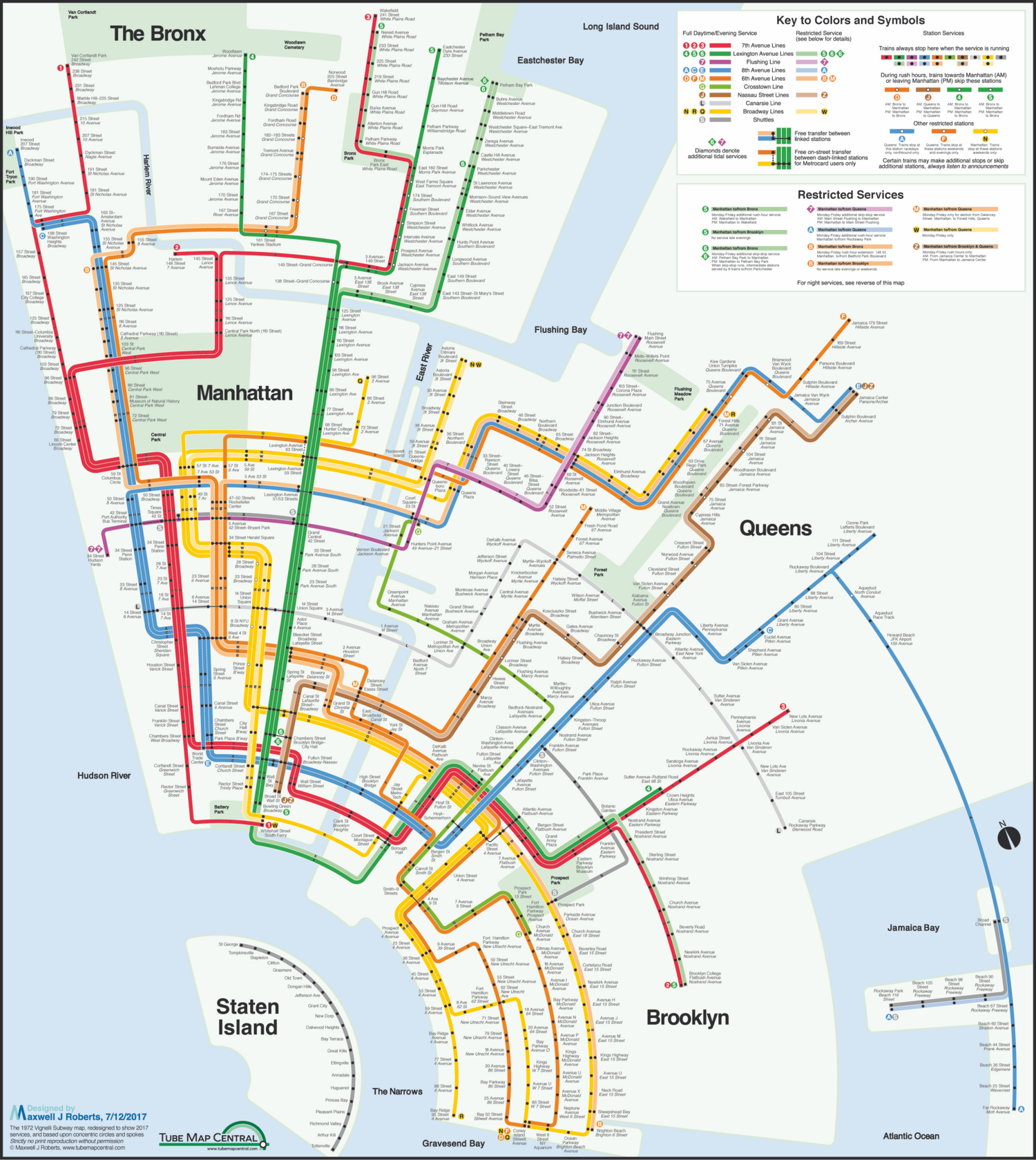 new york city subway concentric circle map in a massimo vignelli style